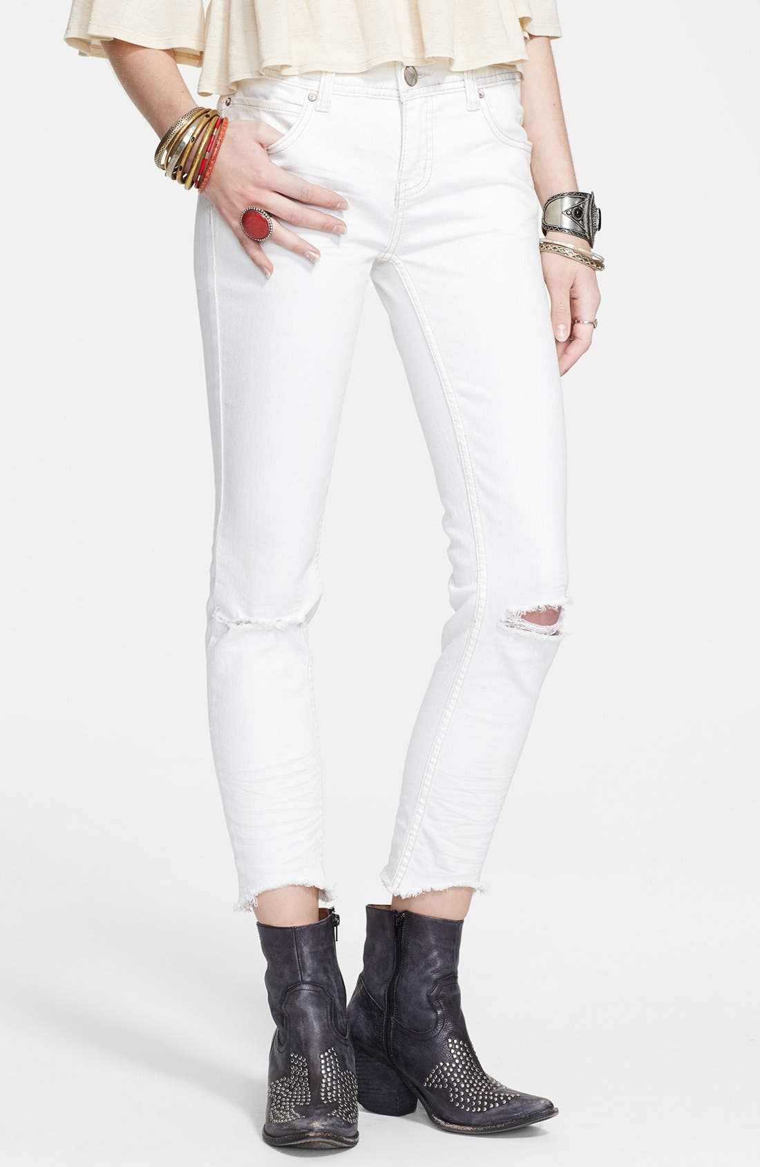 Alternate Image 1 Selected - Free People Mid Rise Skinny Jeans