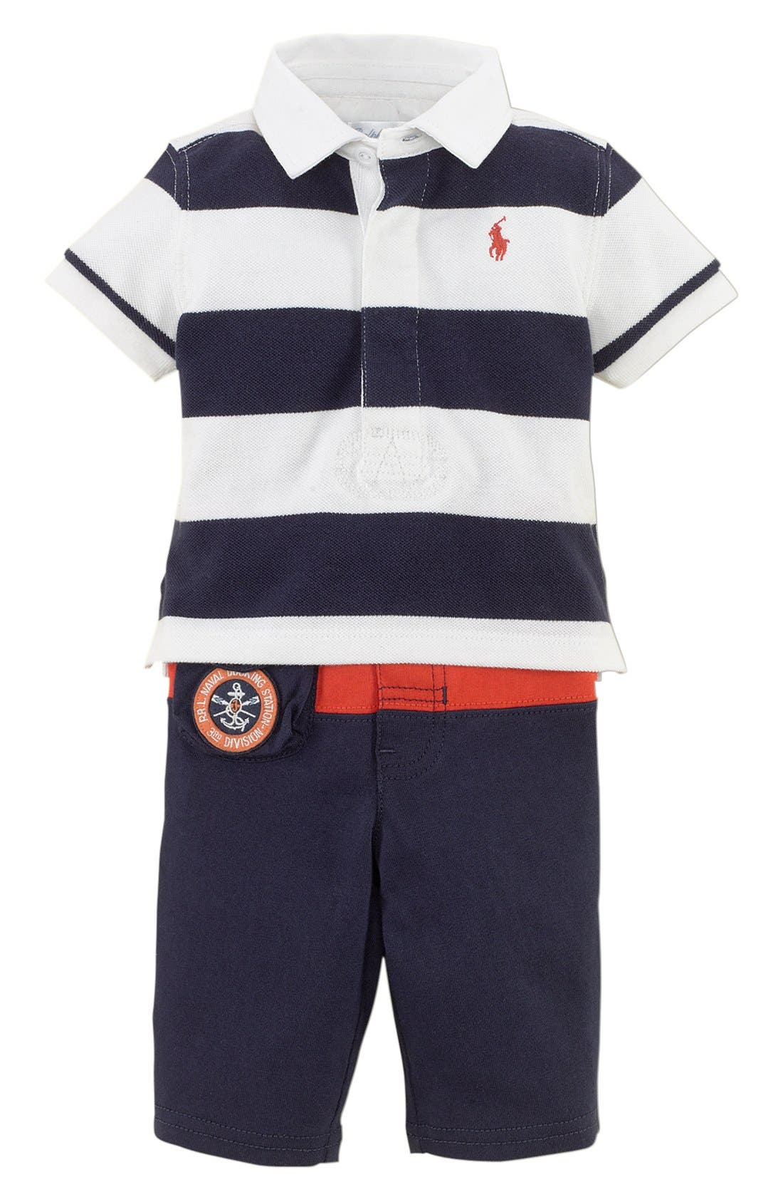 Alternate Image 1 Selected - Ralph Lauren Stripe Polo & Pants (Baby Boys)