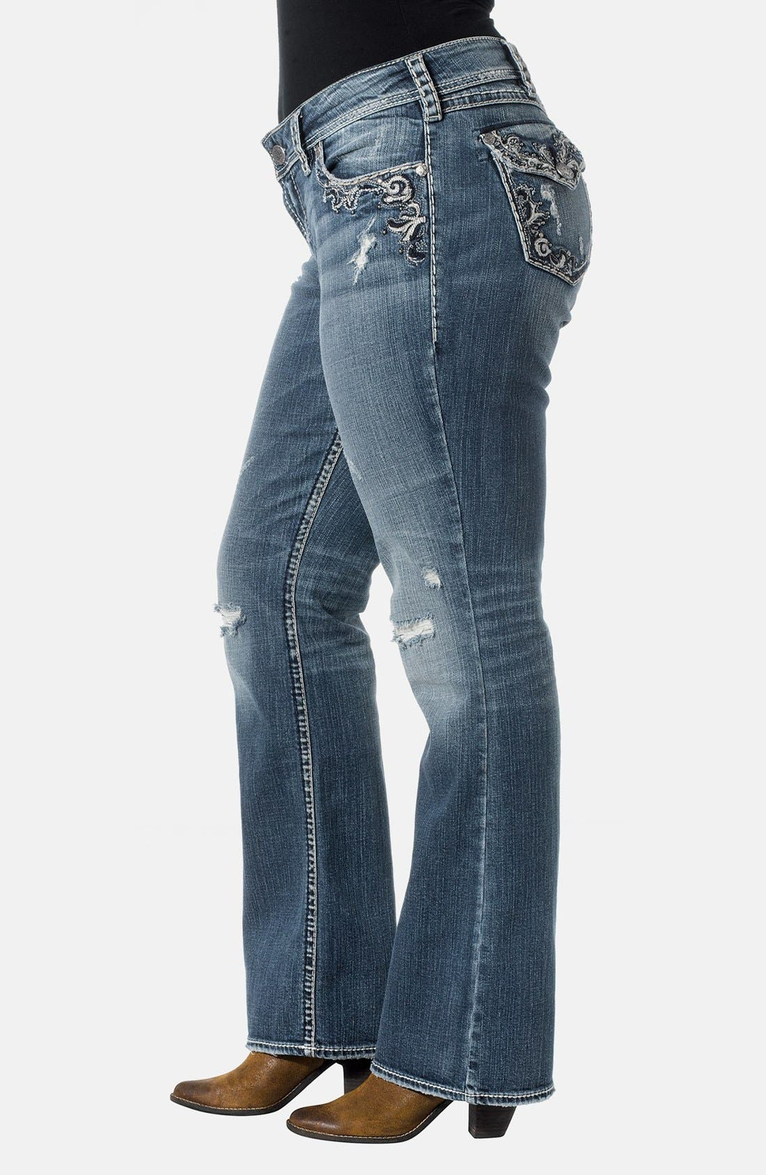 Alternate Image 3  - Silver Jeans Co. 'Suki' Embroidered Pocket Bootcut Jeans (Indigo) (Plus Size)
