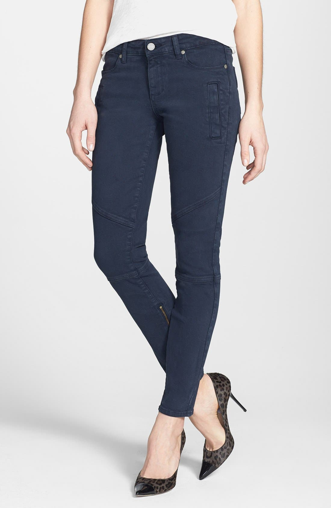 Alternate Image 1 Selected - Paige Denim 'Marley' Skinny Twill Moto Pants (Azure)