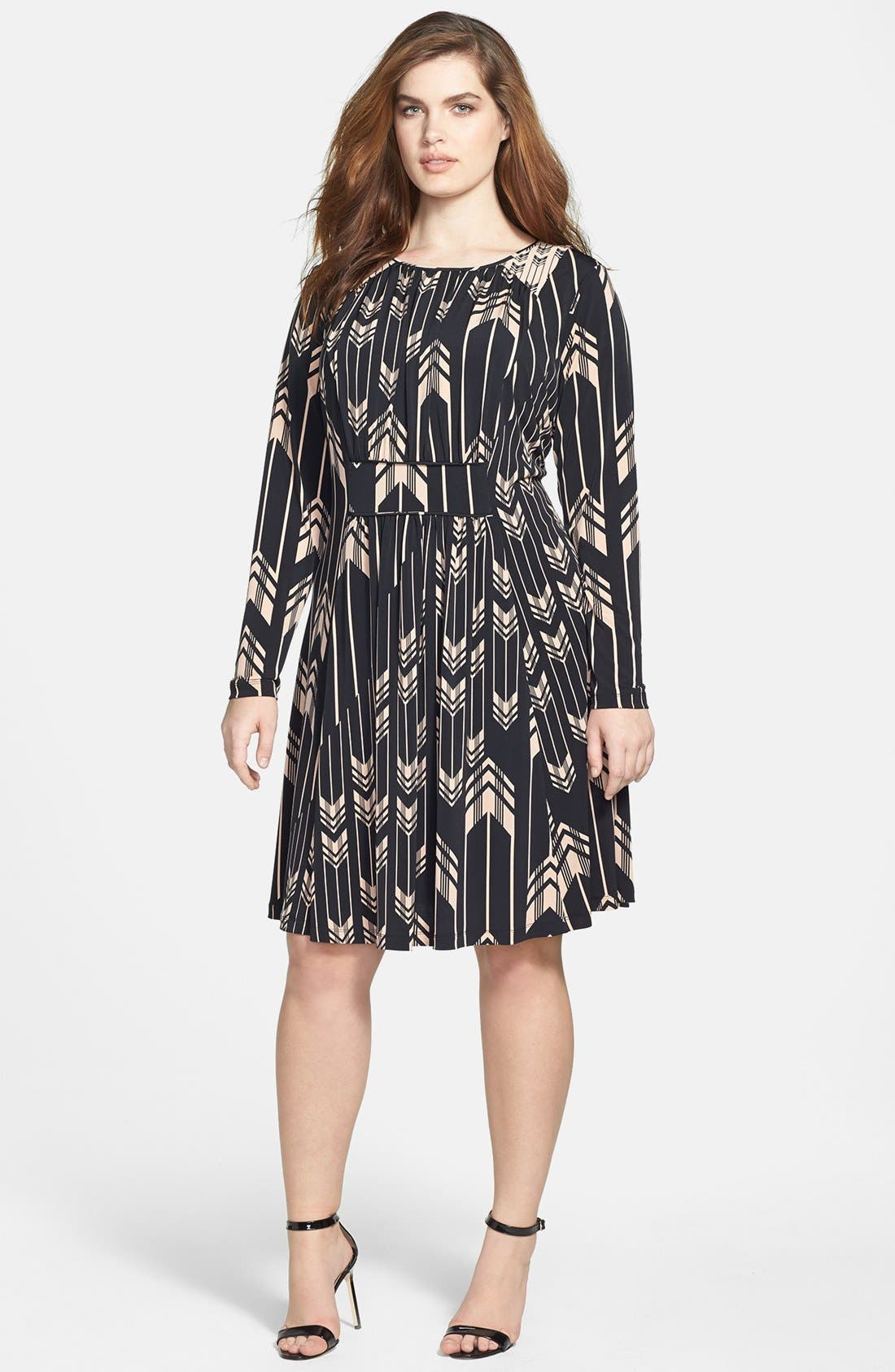 Main Image - Jessica Simpson Print Fit & Flare Dress (Plus Size)