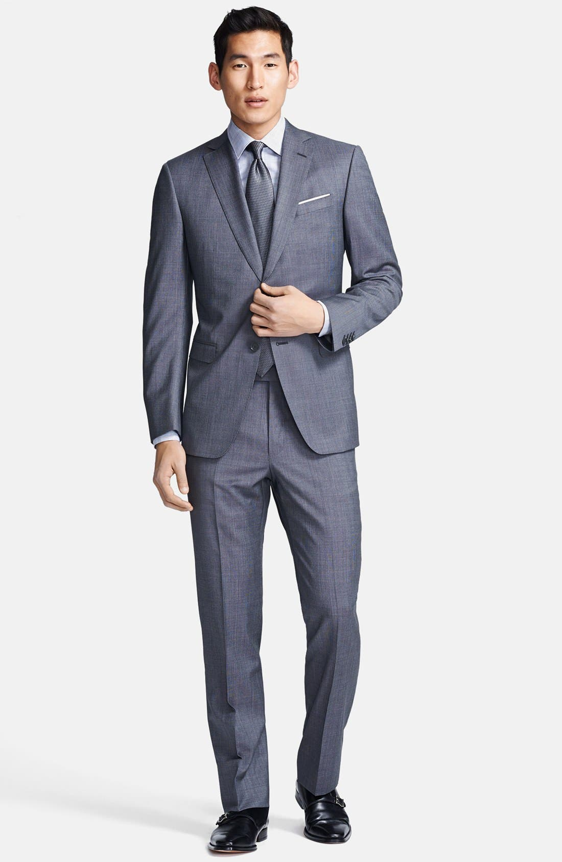 Alternate Image 1 Selected - Z Zegna Trim Fit Grey Textured Wool Suit