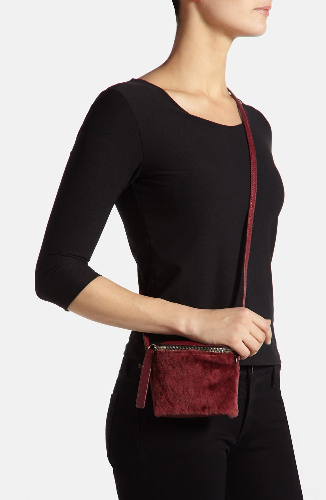 Alternate Image 5  - Kara 'Stowaway' Pebbled Leather & Genuine Shearling Crossbody Bag, Small