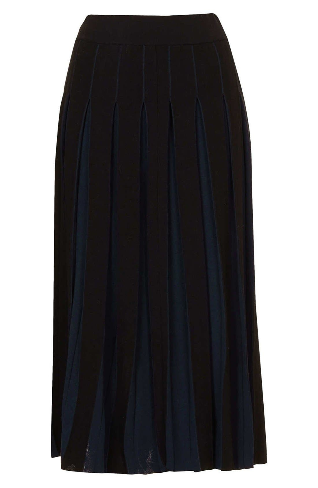 Alternate Image 3  - Topshop Boutique Pleated Two-Tone Midi Skirt
