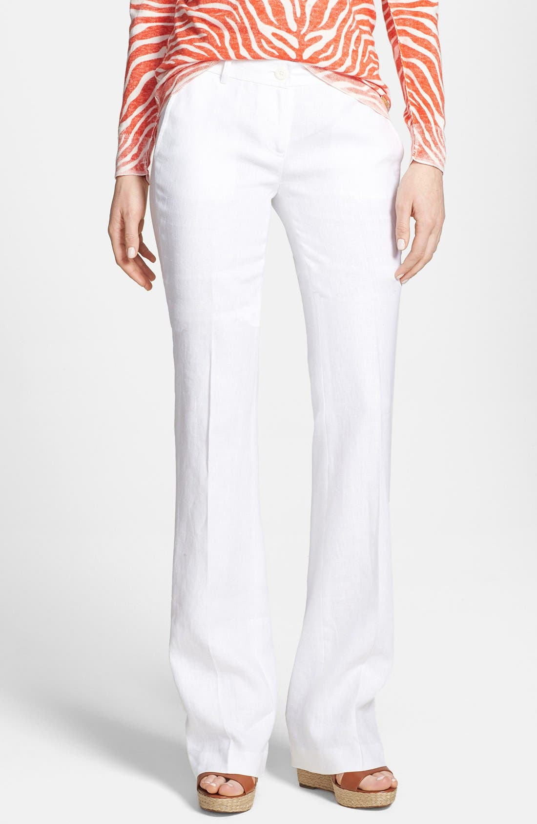 Main Image - MICHAEL Michael Kors Flare Leg Stretch Linen Trousers