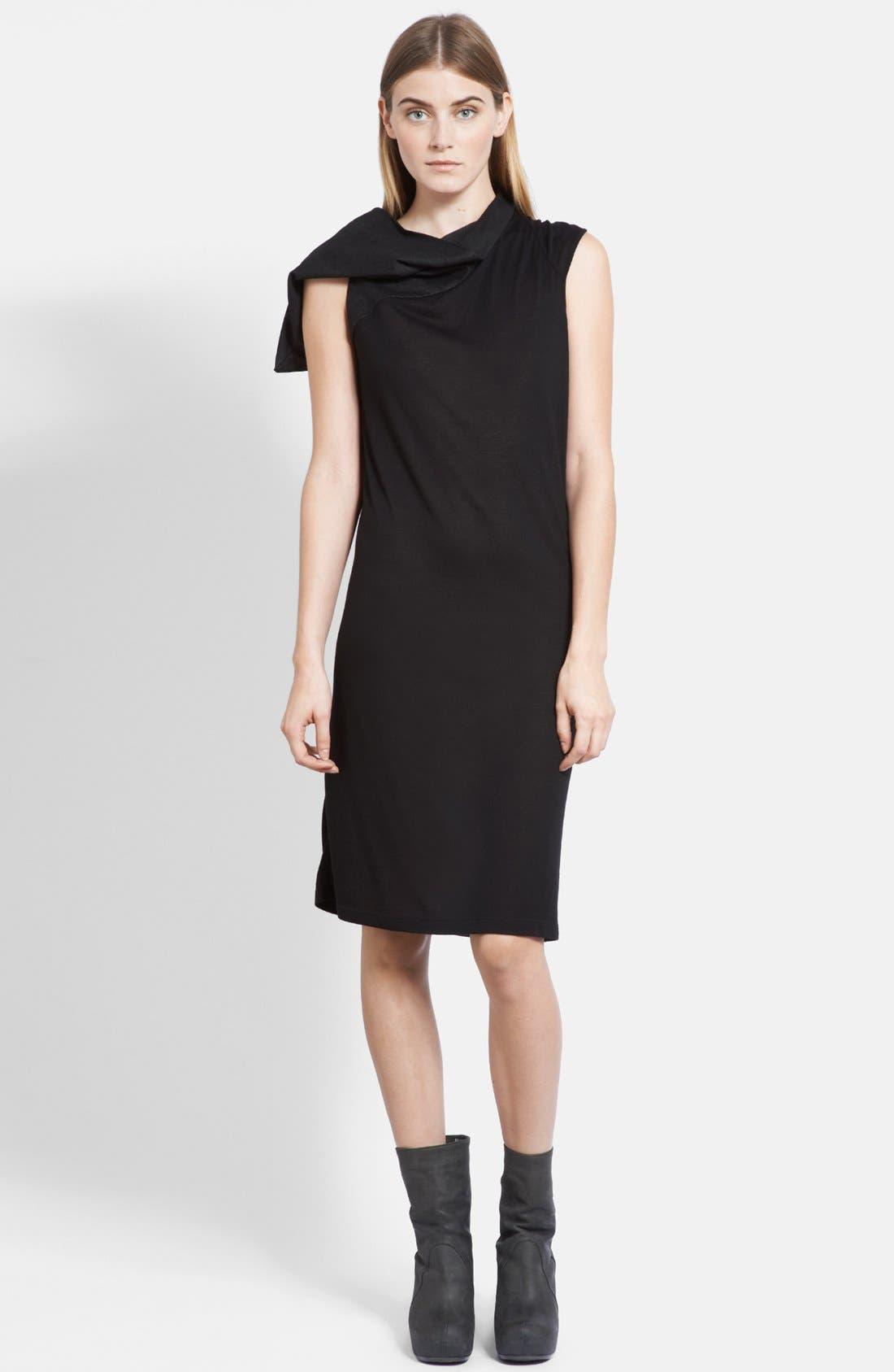Main Image - Rick Owens Suede Hood Jersey Tunic Dress