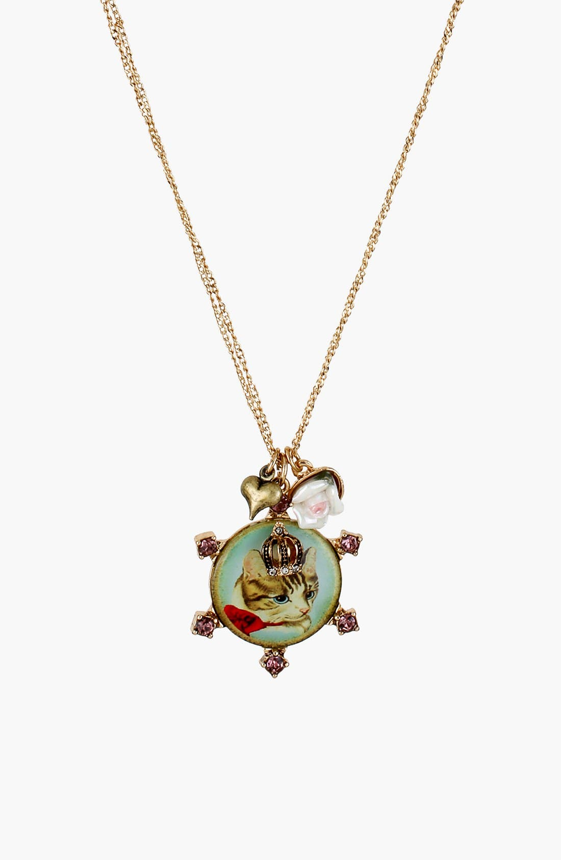 Main Image - Betsey Johnson 'Vintage Bow' Cluster Pendant Necklace