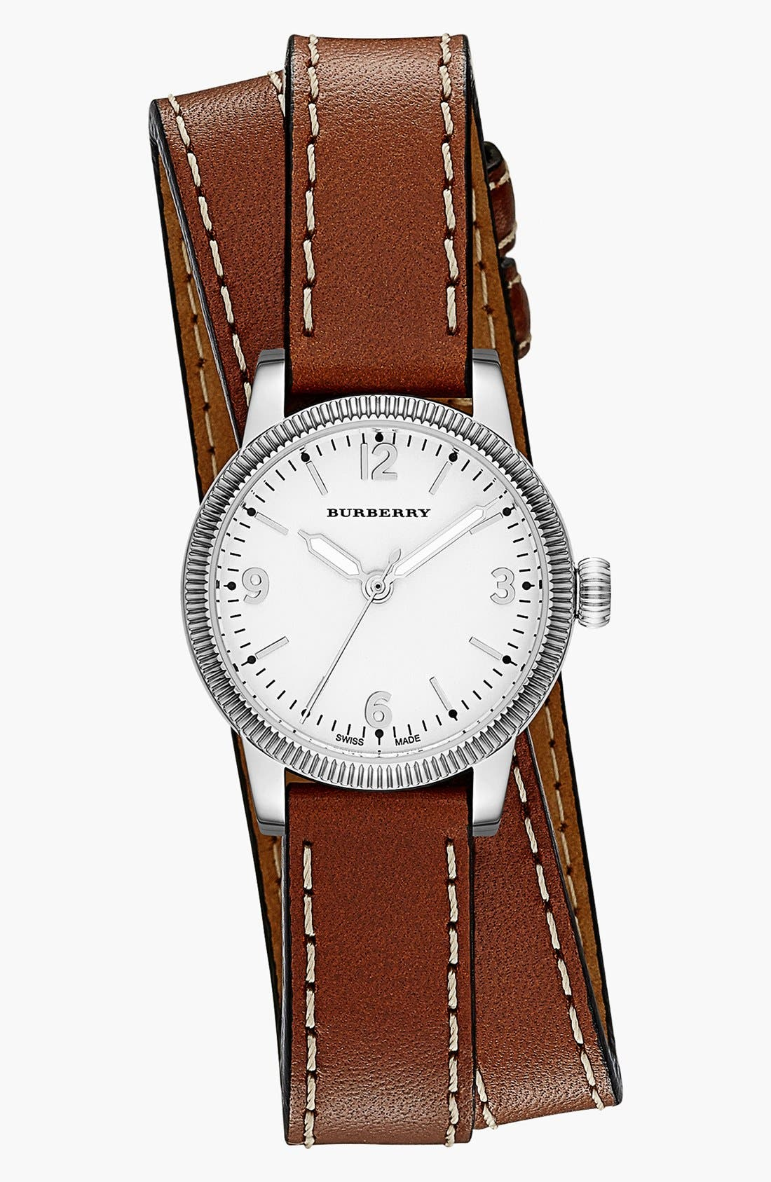 Alternate Image 1 Selected - Burberry 'Utilitarian' Round Leather Wrap Watch, 30mm