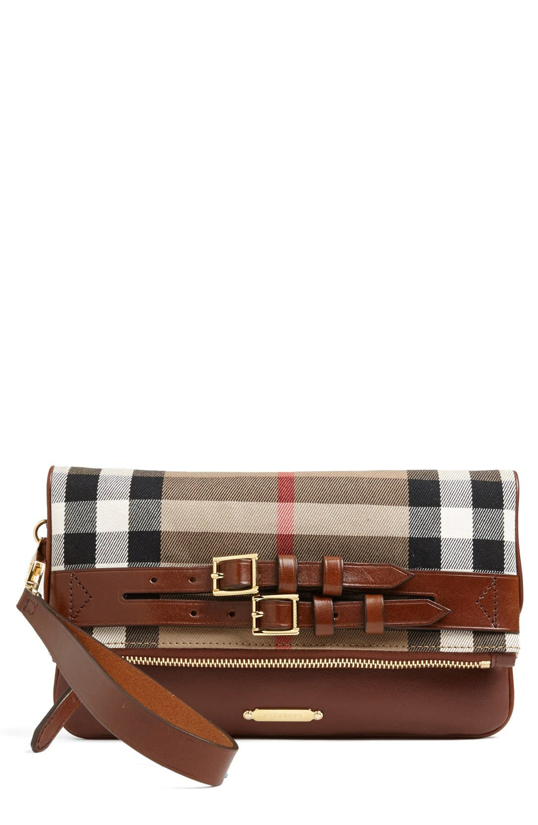 Main Image - Burberry 'Adeline' Belted Foldover Flap Clutch