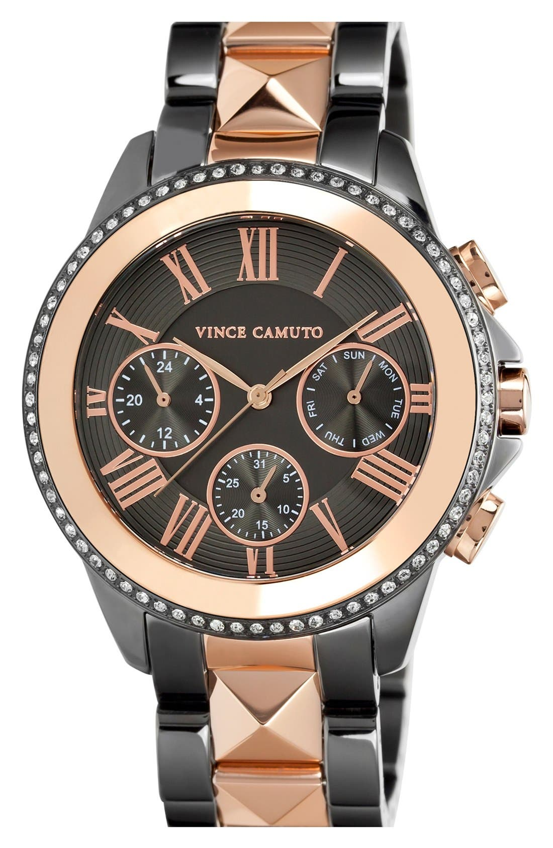Alternate Image 1 Selected - Vince Camuto Multifunction Pyramid Bracelet Watch, 42mm