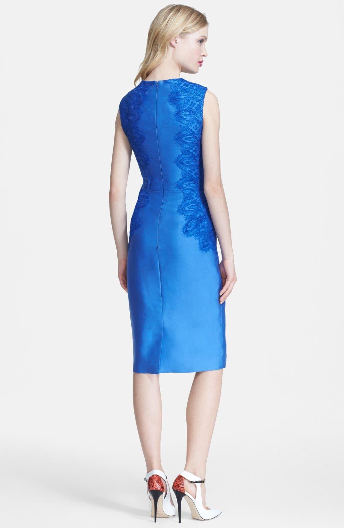 Alternate Image 2  - Lela Rose Lace Panel Sheath Dress