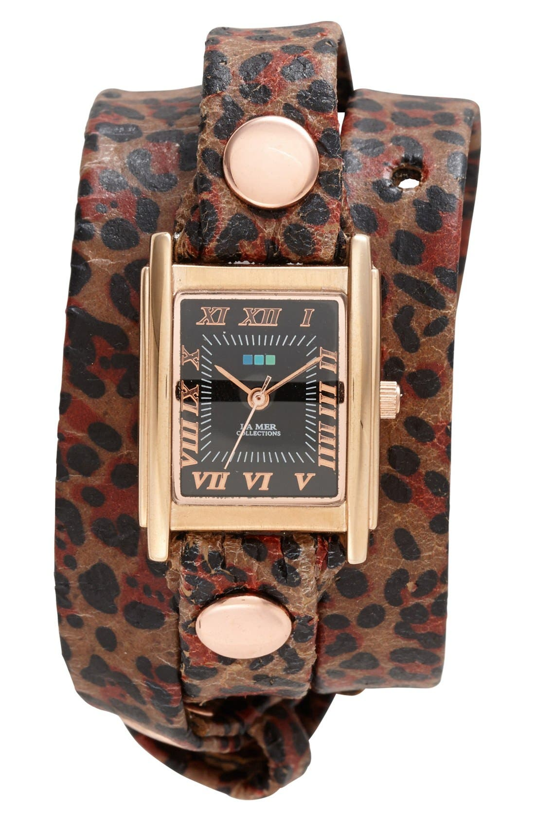 Main Image - La Mer Collections Square Leopard Print Wrap Watch, 22mm