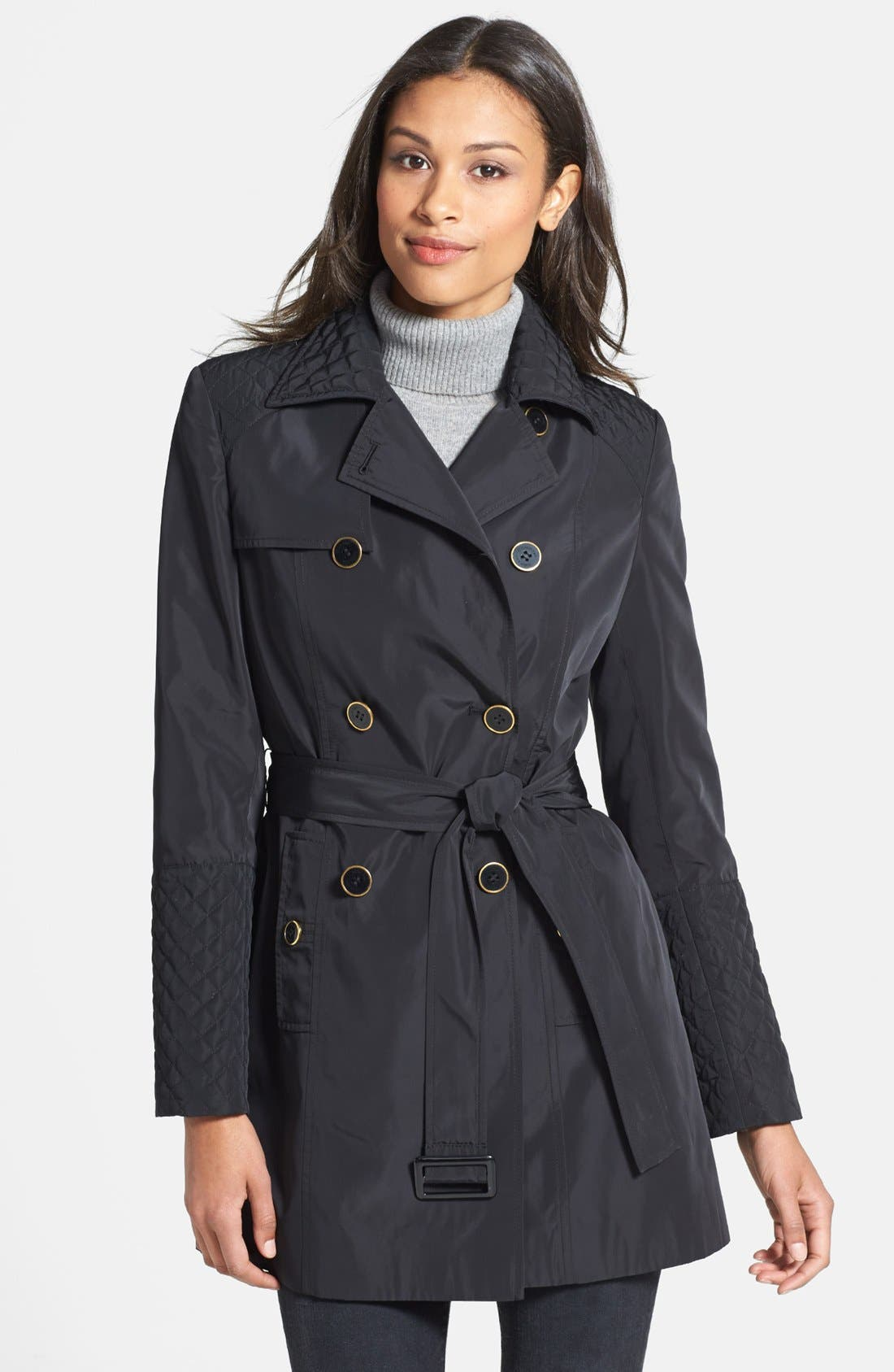 Main Image - Calvin Klein Quilt Detail Double Breasted Trench