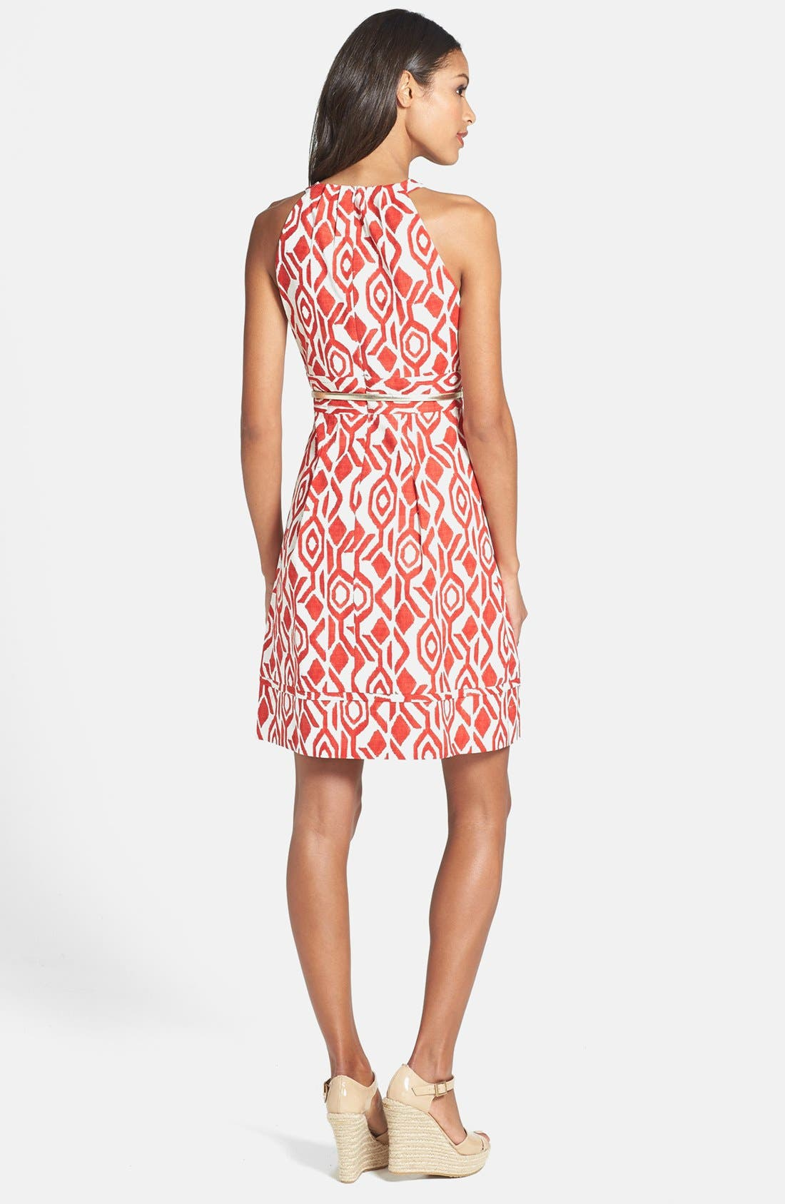Alternate Image 2  - Eliza J Print Cutaway Bodice Stretch Cotton Fit & Flare Dress