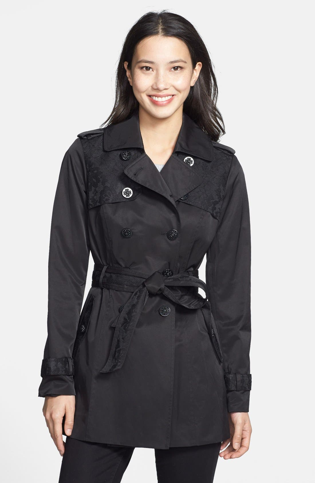 Main Image - Jessica Simpson Lace Detail Belted Trench Coat