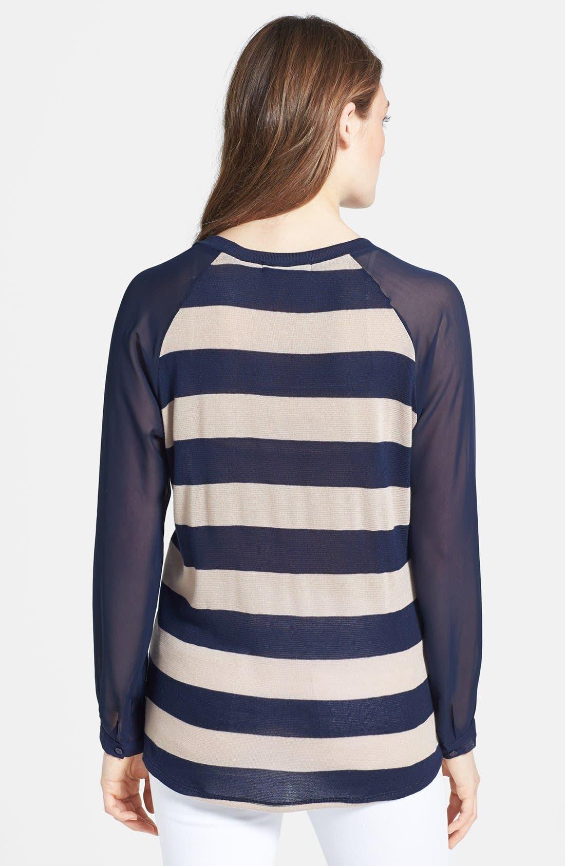 Alternate Image 2  - Olivia Moon Woven Sleeve Pullover