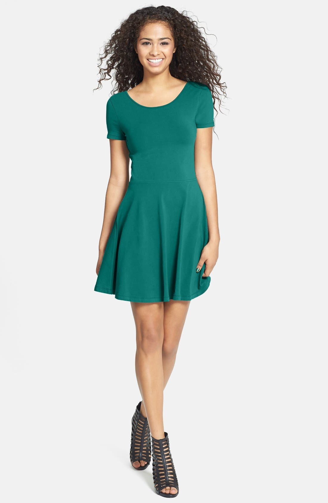 Main Image - BP. Scoop Back Skater Dress (Juniors)