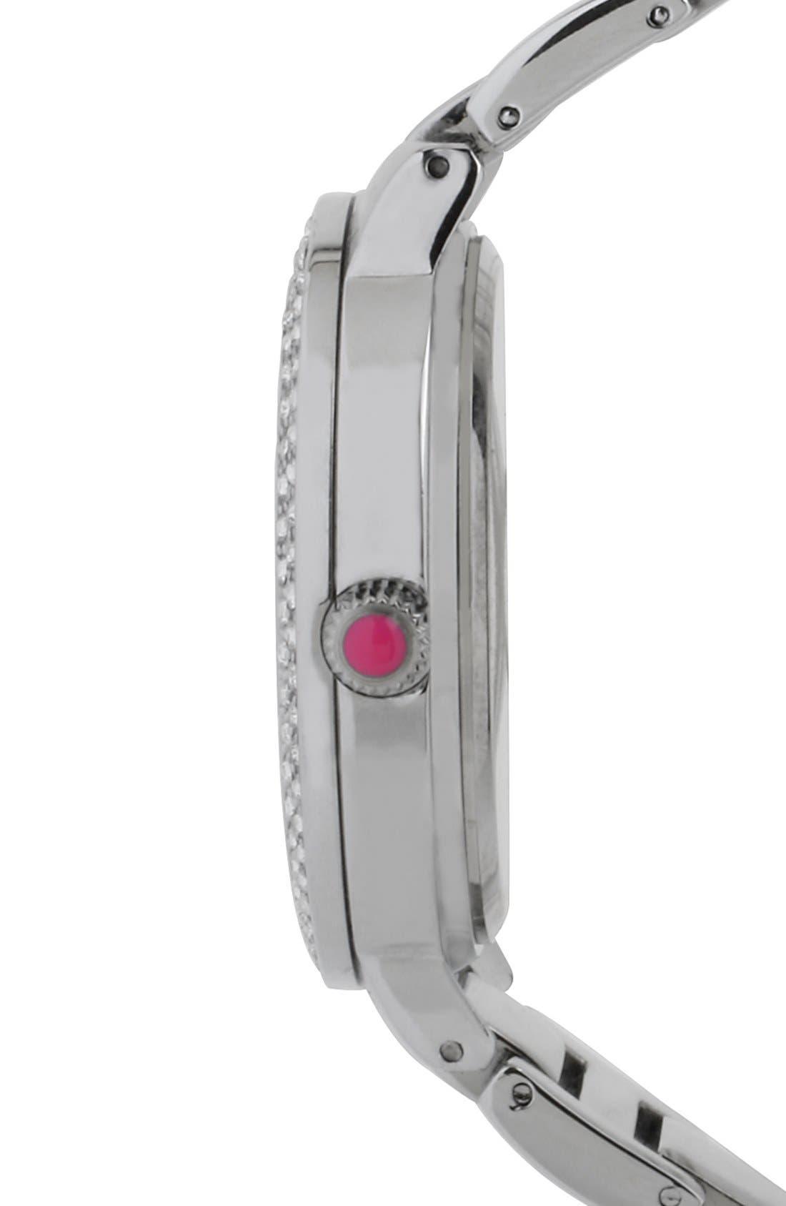 Alternate Image 3  - Betsey Johnson Crystal Index Bracelet Watch, 39mm
