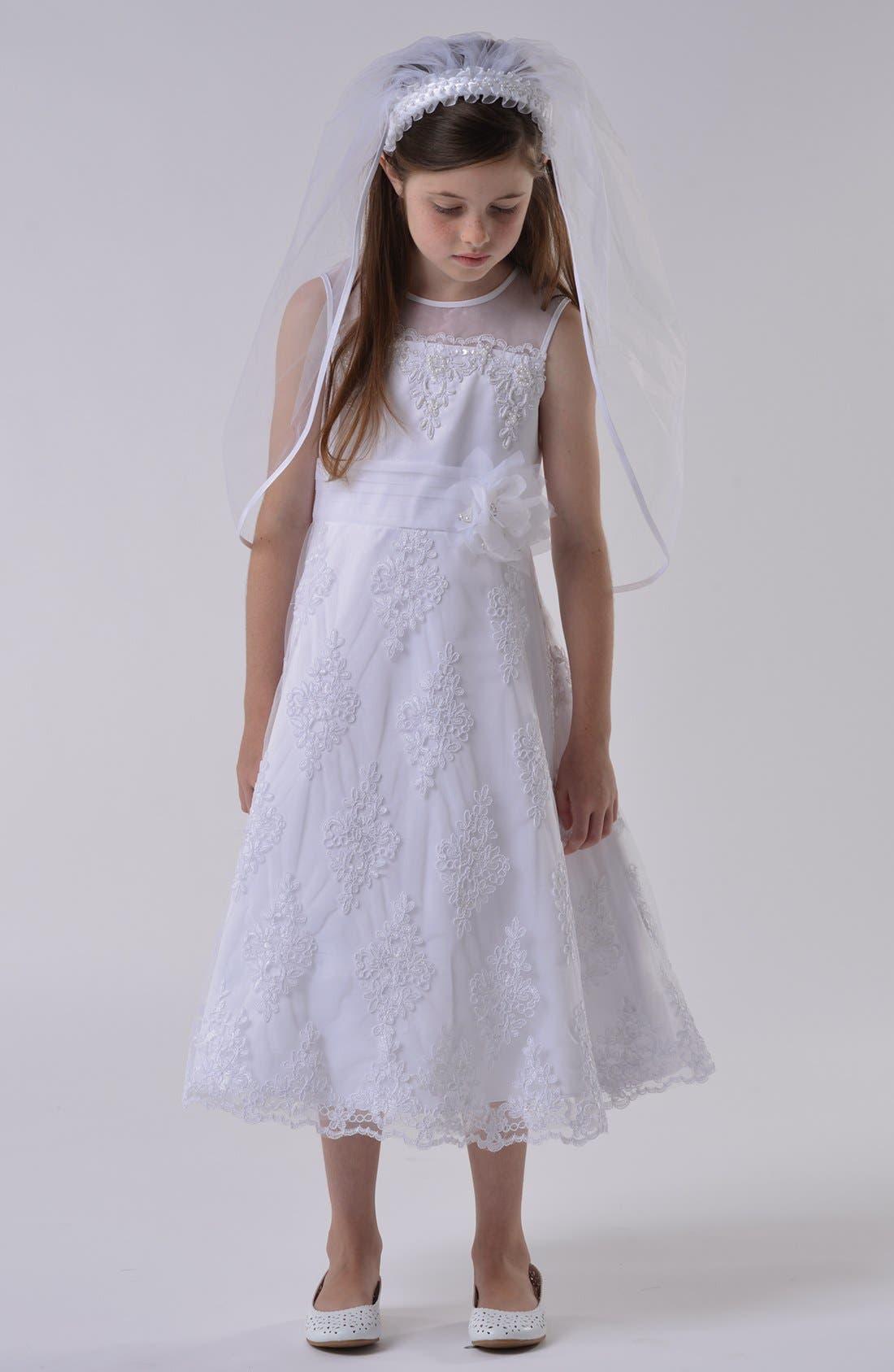Alternate Image 1 Selected - Us Angels Communion Dress (Little Girls & Big Girls)