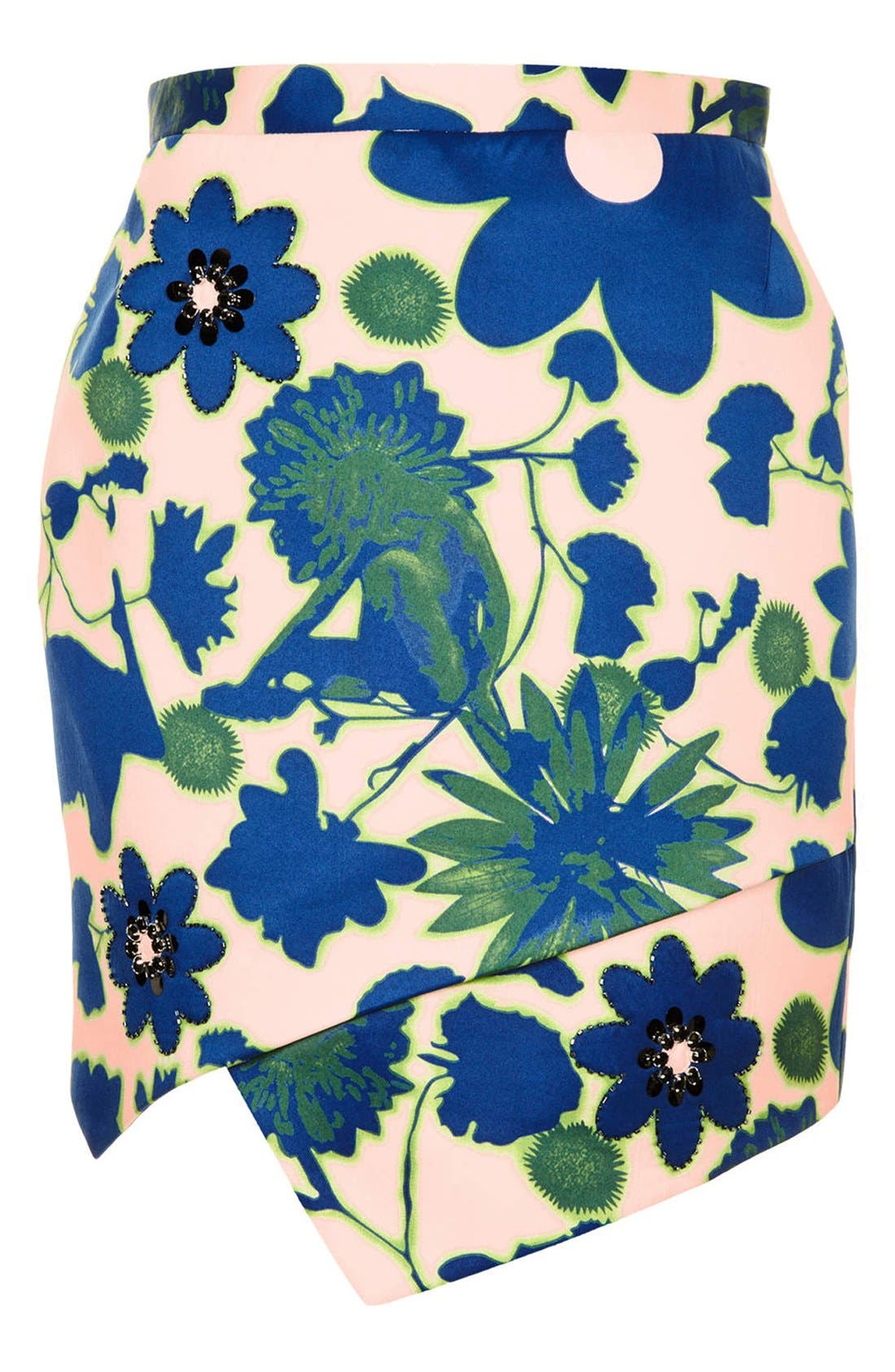 Alternate Image 3  - Topshop 'Floral X-Ray' Embellished Print Skirt