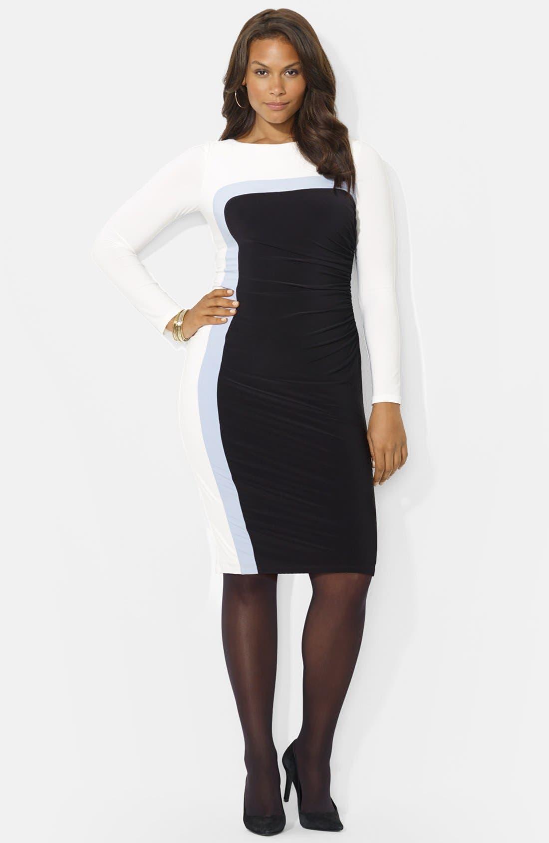 Alternate Image 1 Selected - Lauren Ralph Lauren Colorblock Jersey Sheath Dress (Plus Size)