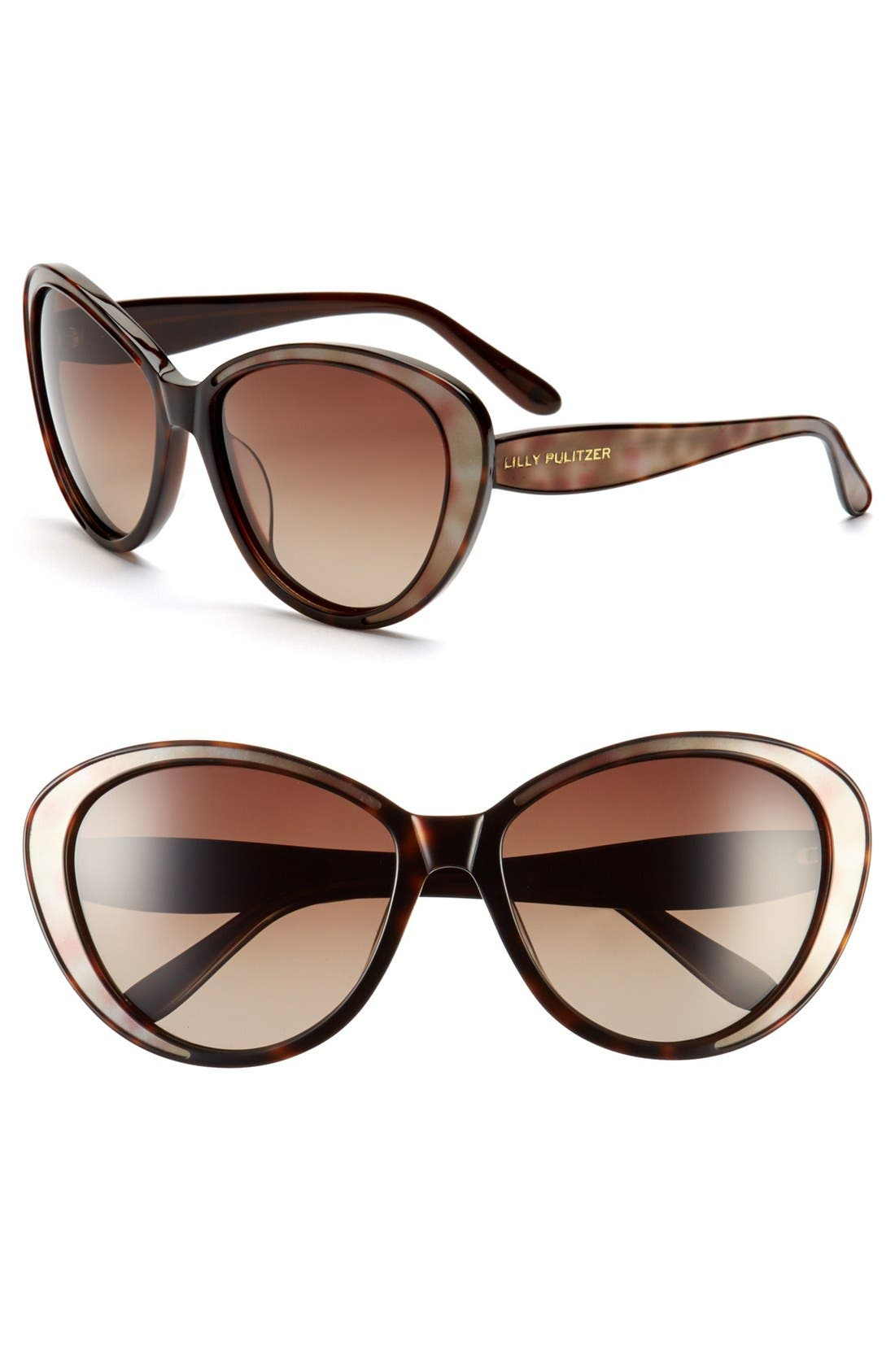 Main Image - Lilly Pulitzer® 'Mae' 60mm Polarized Sunglasses