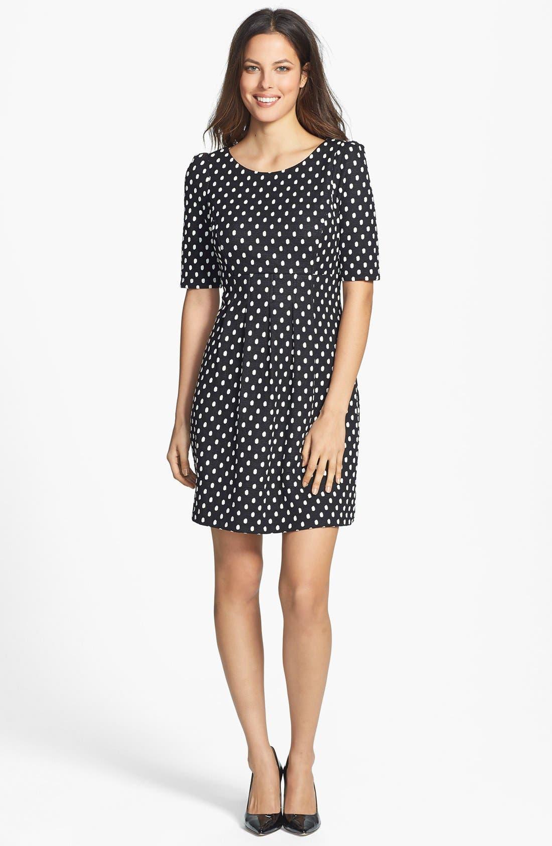 Alternate Image 3  - Donna Ricco Polka Dot Jacquard Dress (Petite)