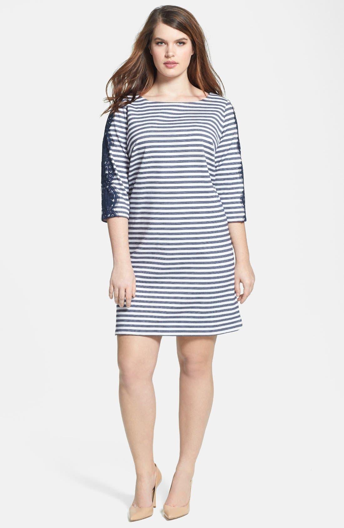 Alternate Image 1 Selected - Eliza J Stripe & Lace Ponte Knit Shift Dress (Plus Size)