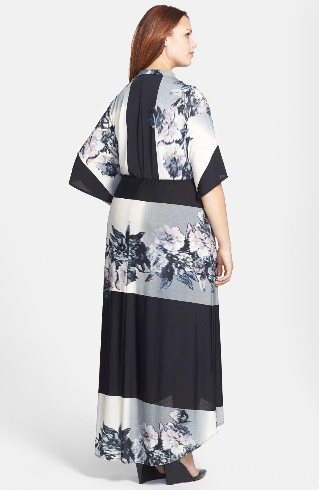Alternate Image 2  - ABS by Allen Schwartz 'Kaftan' Printed High/Low Maxi Dress (Plus Size)