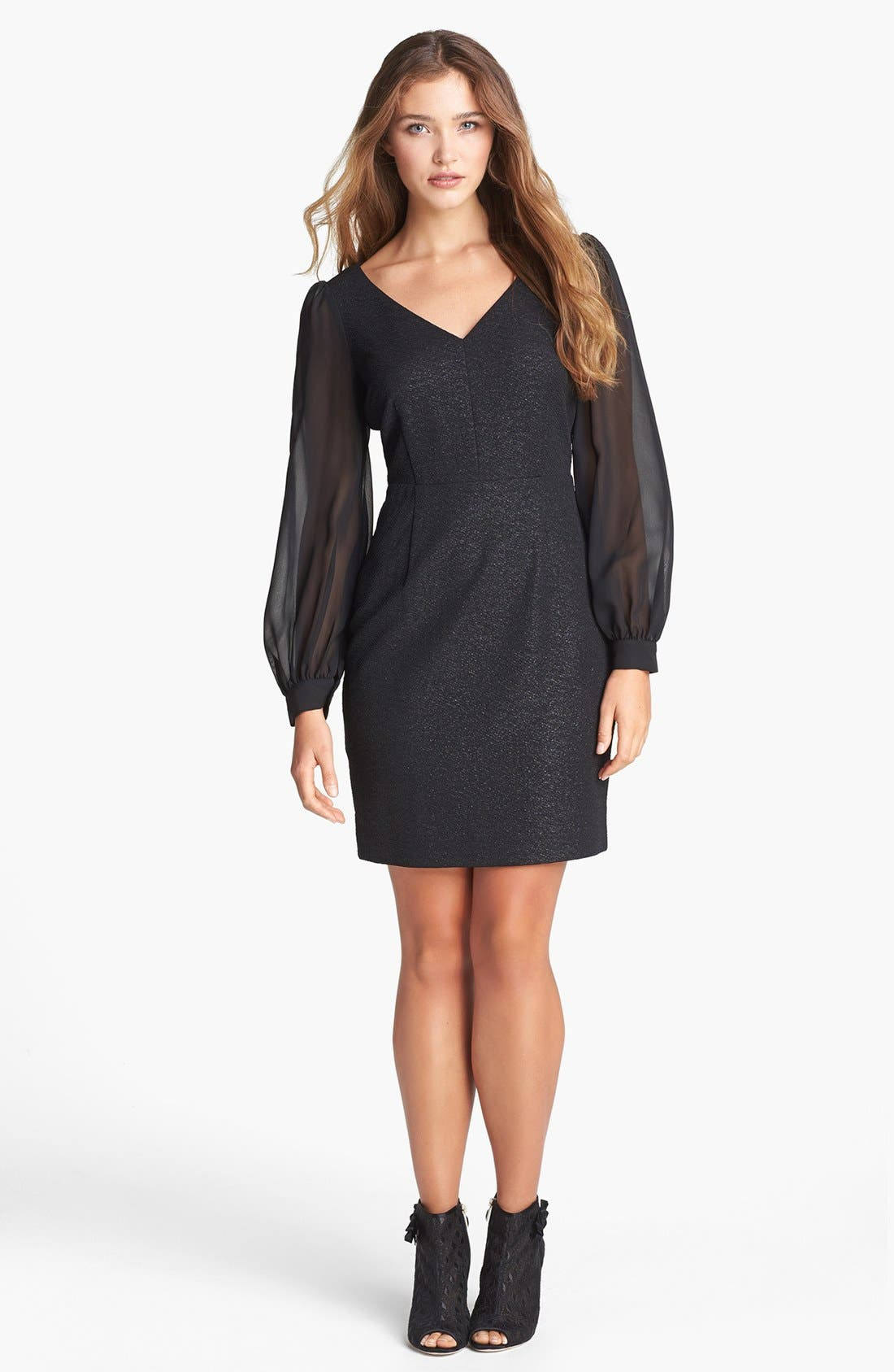 Main Image - Marc New York by Andrew Marc Illusion Sleeve Textured Sheath Dress (Petite)