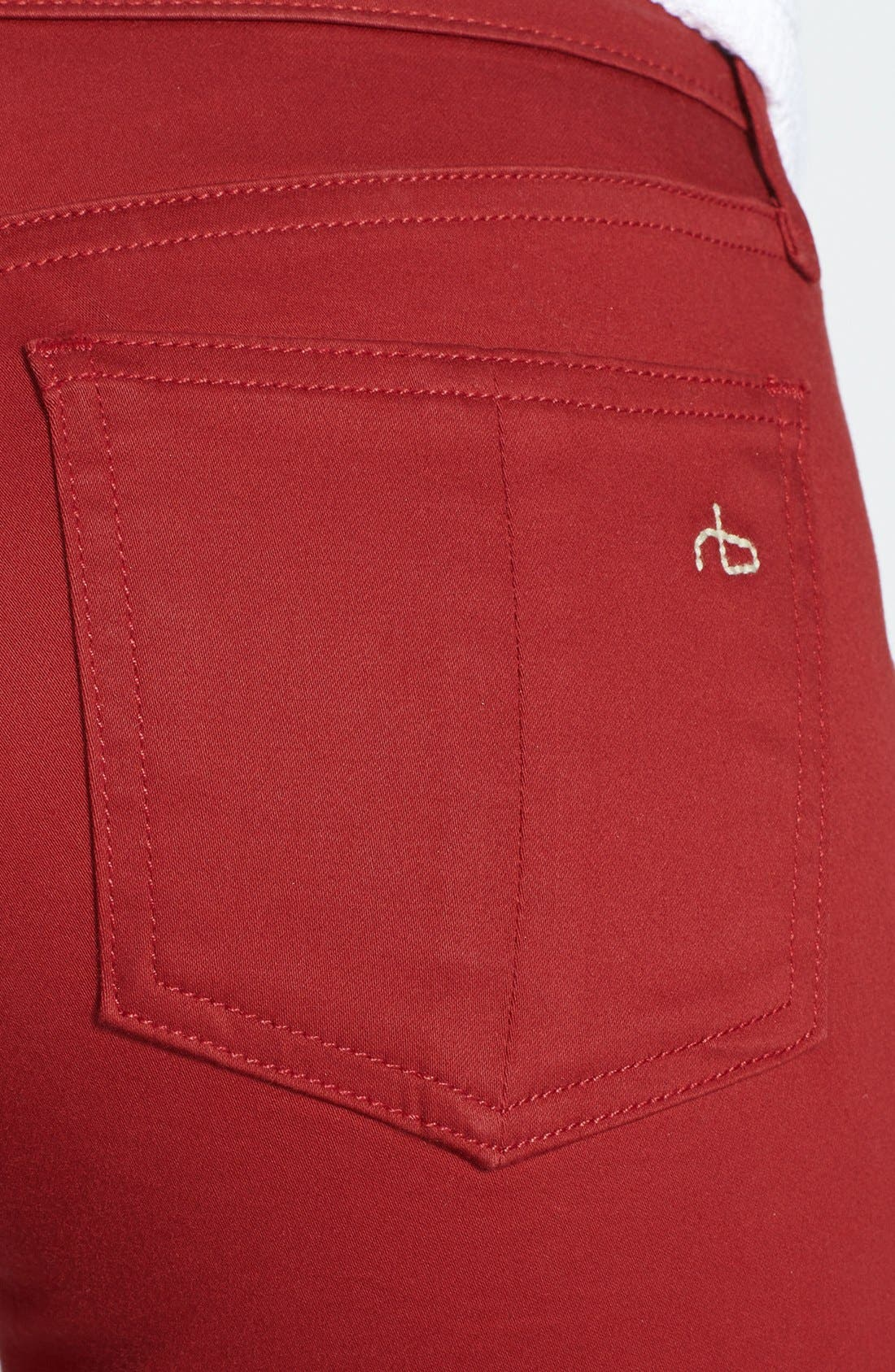 Alternate Image 3  - rag & bone/JEAN 'The Legging' Sateen Skinny Jeans (Red Sateen)
