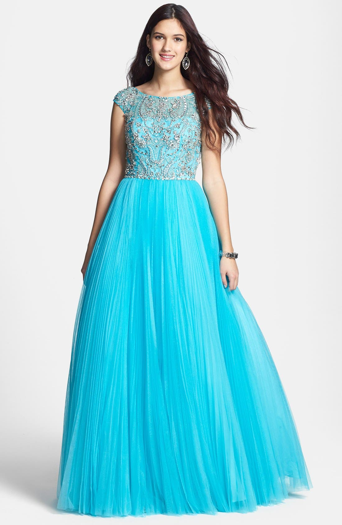Alternate Image 1 Selected - Sherri Hill Cap Sleeve Embellished Ballgown