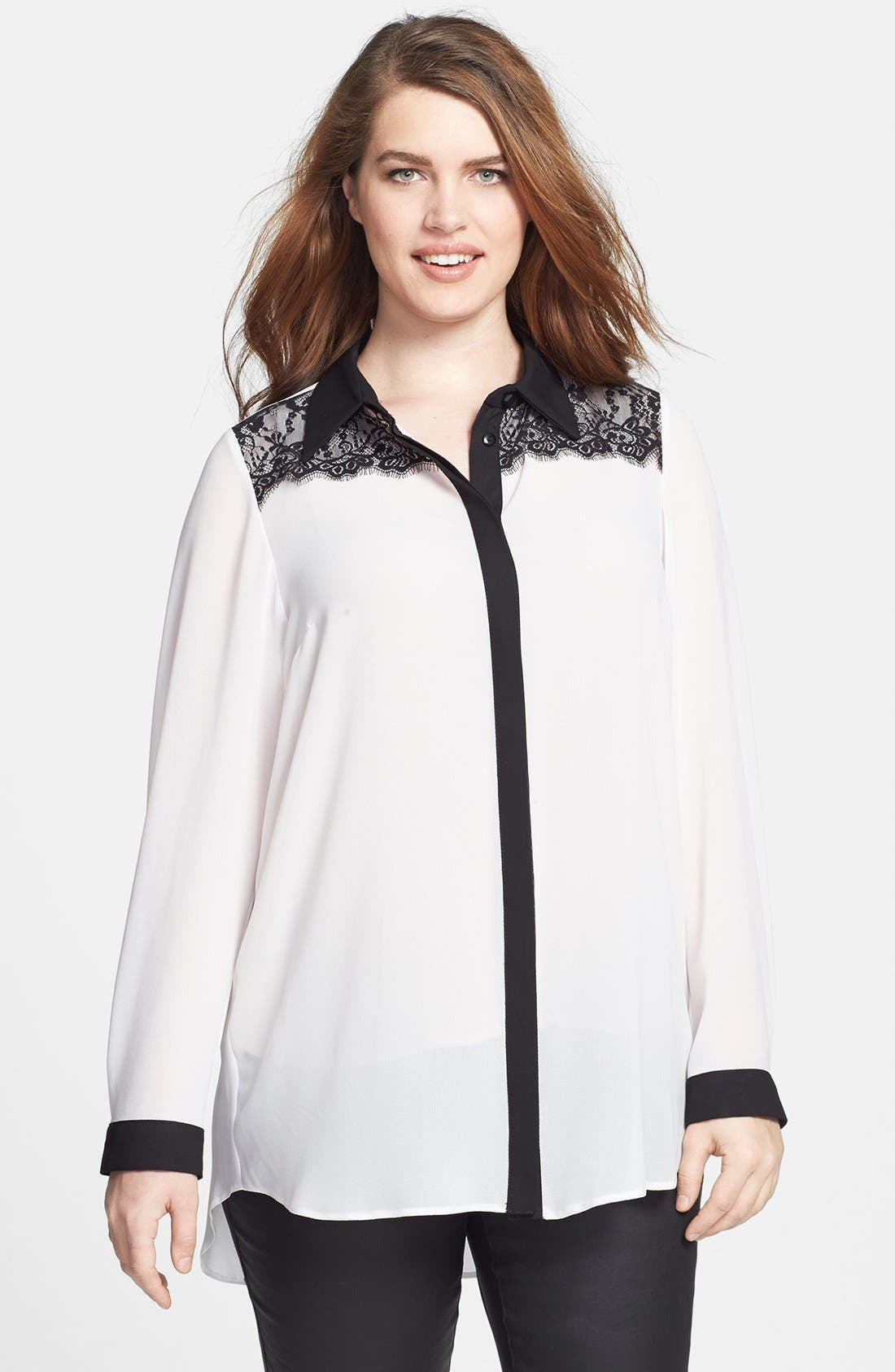 Main Image - Evans Lace Yoke Blouse (Plus Size)