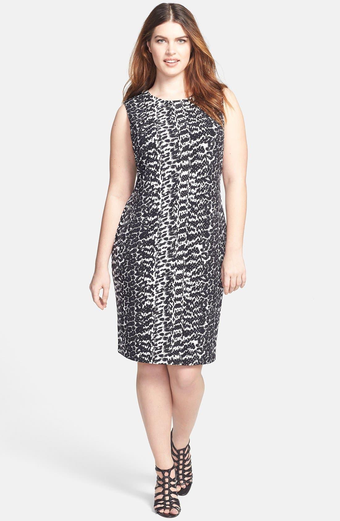 Main Image - Vince Camuto 'Animal Tracks' Sleeveless Sheath Dress (Plus Size)