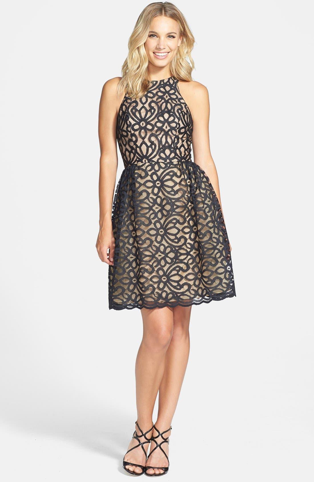 Alternate Image 3  - ML Monique Lhuillier Bridesmaids Lace Fit & Flare Dress