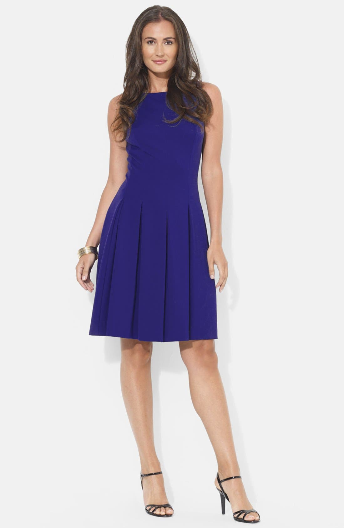 Main Image - Lauren Ralph Lauren Pleat Jersey Fit & Flare Dress