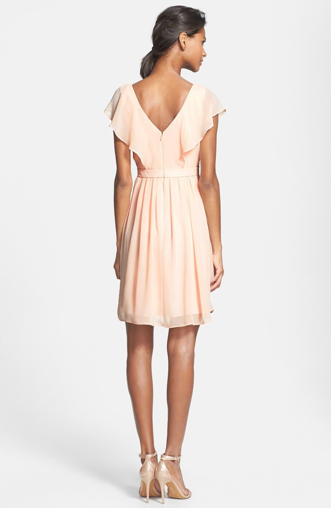 Alternate Image 2  - Jenny Yoo 'Isabel' Ruffled Chiffon Fit & Flare Dress
