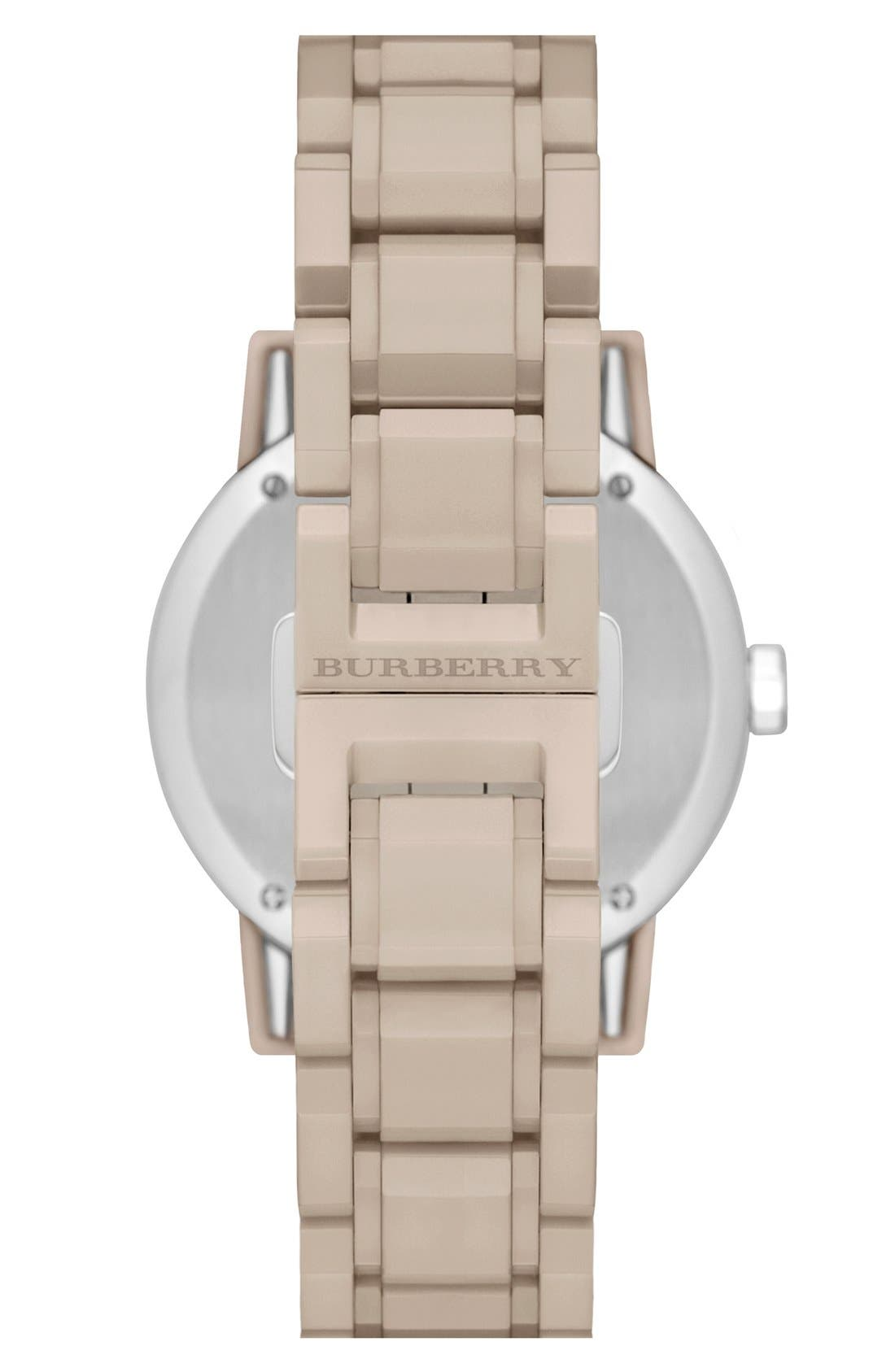 Alternate Image 2  - Burberry Check Dial Ceramic Bracelet Watch, 34mm