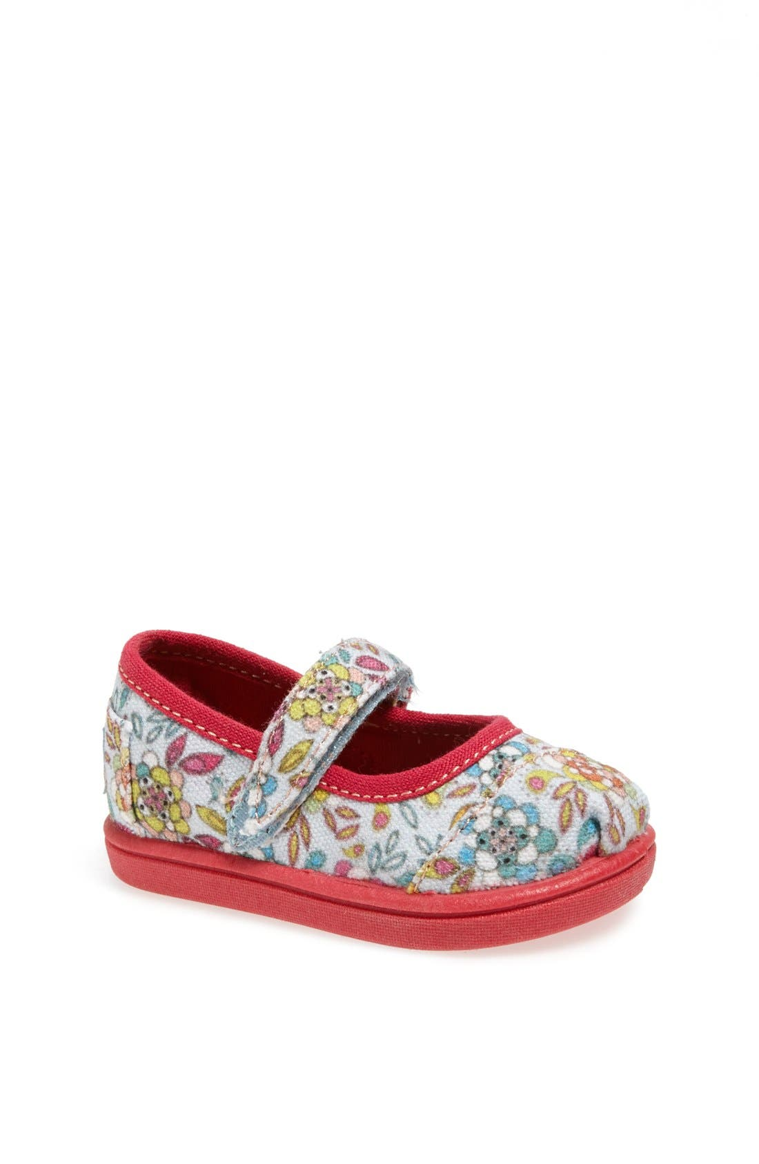 Main Image - TOMS 'Tiny - Inked Floral' Mary Jane Flat (Baby, Walker & Toddler)