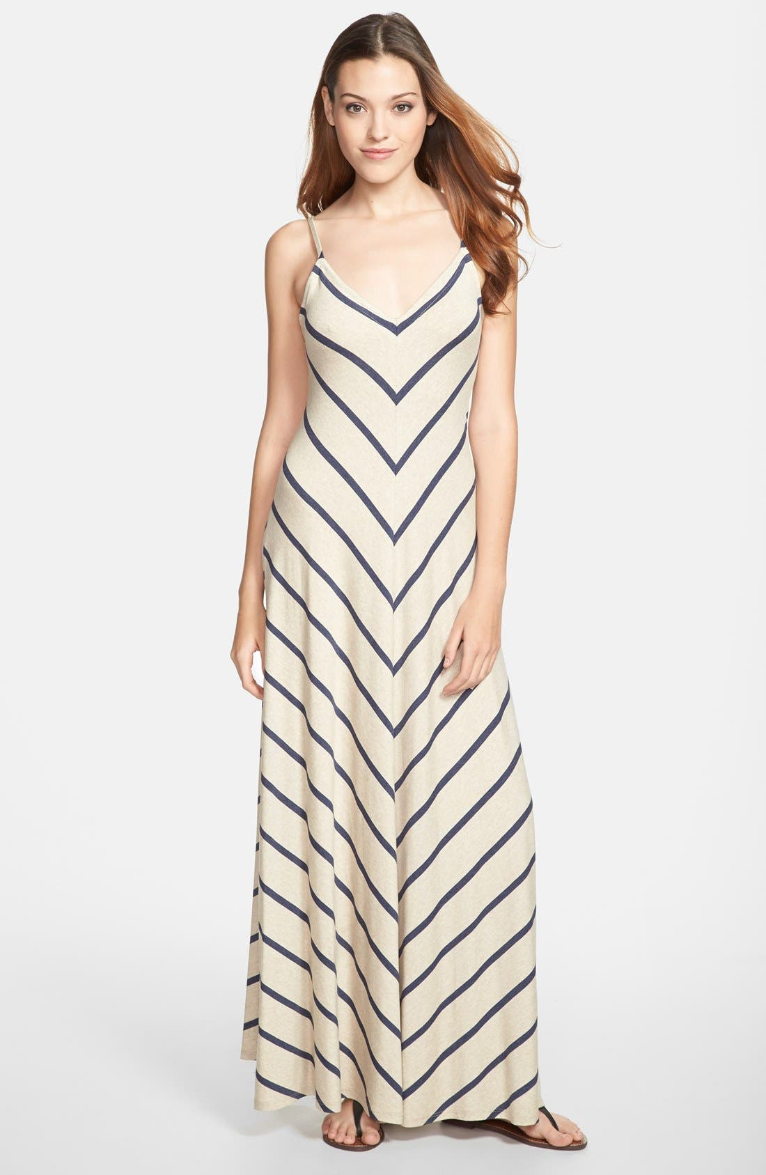 Main Image - Max & Mia V-Neck Maxi Dress (Regular & Petite)