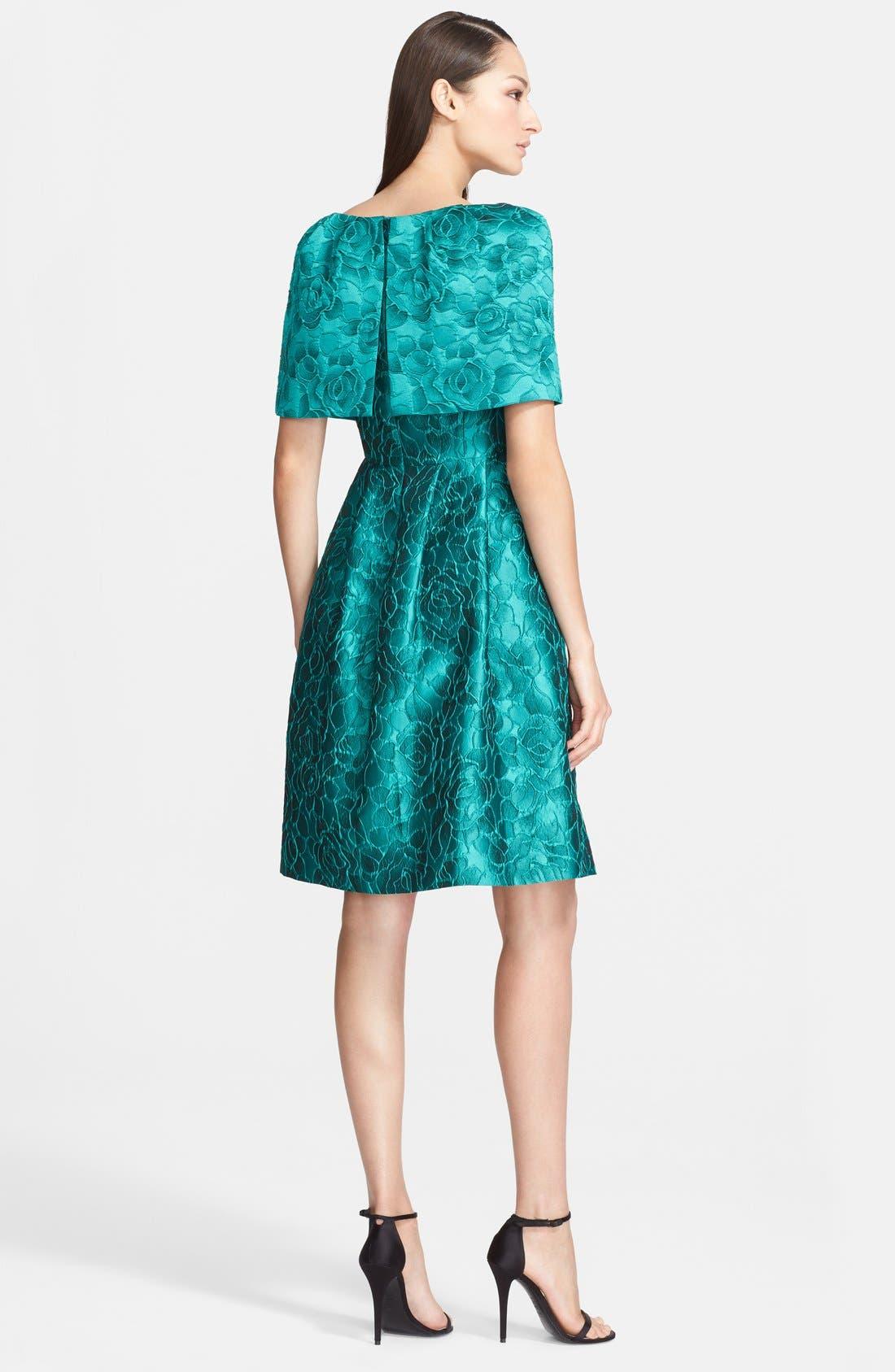 Alternate Image 2  - St. John Collection 'Shadow Rose' Jacquard Cape Dress