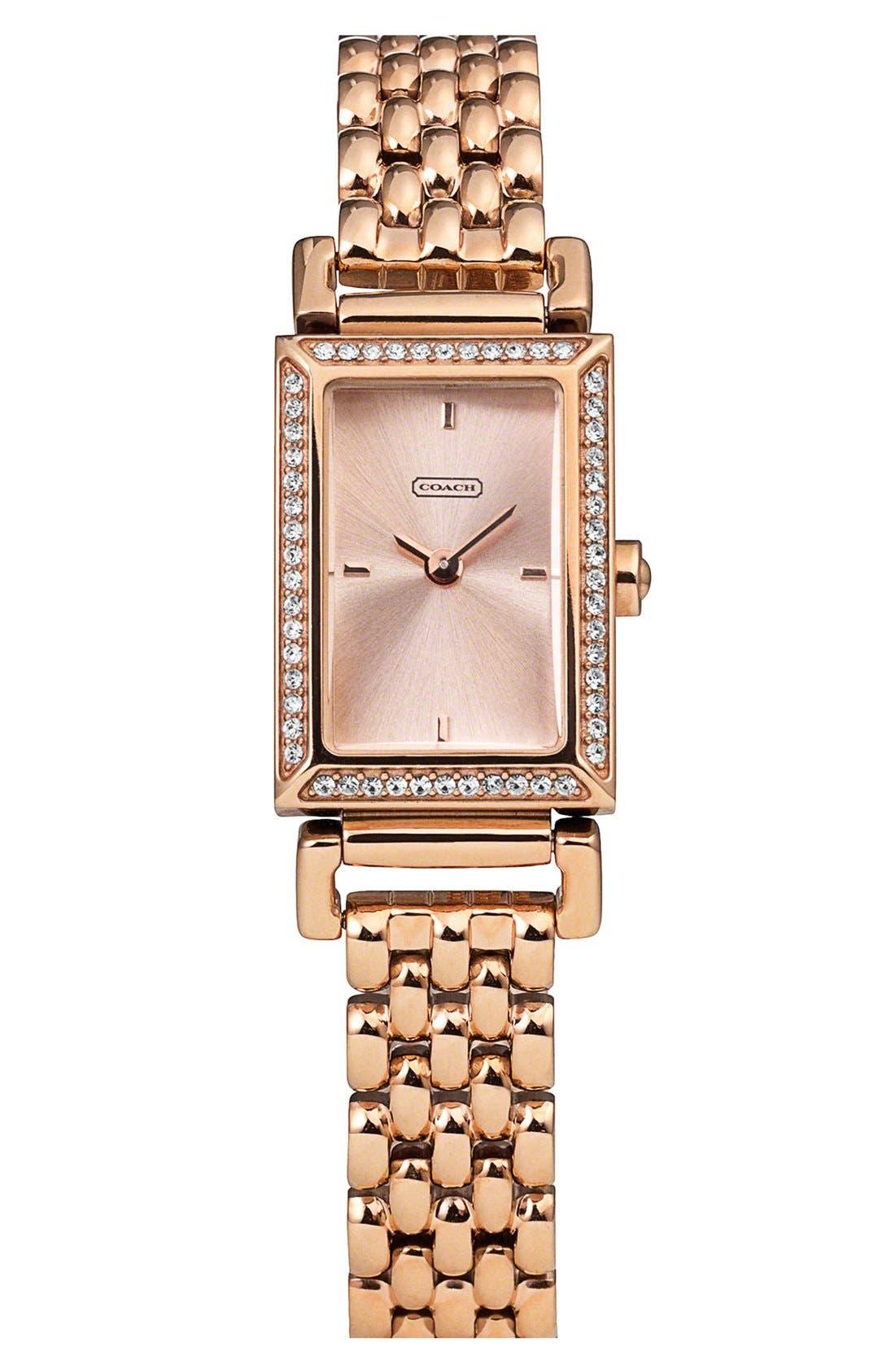 Alternate Image 1 Selected - COACH 'Madison' Crystal Bezel Bracelet Watch, 17mm x 30mm