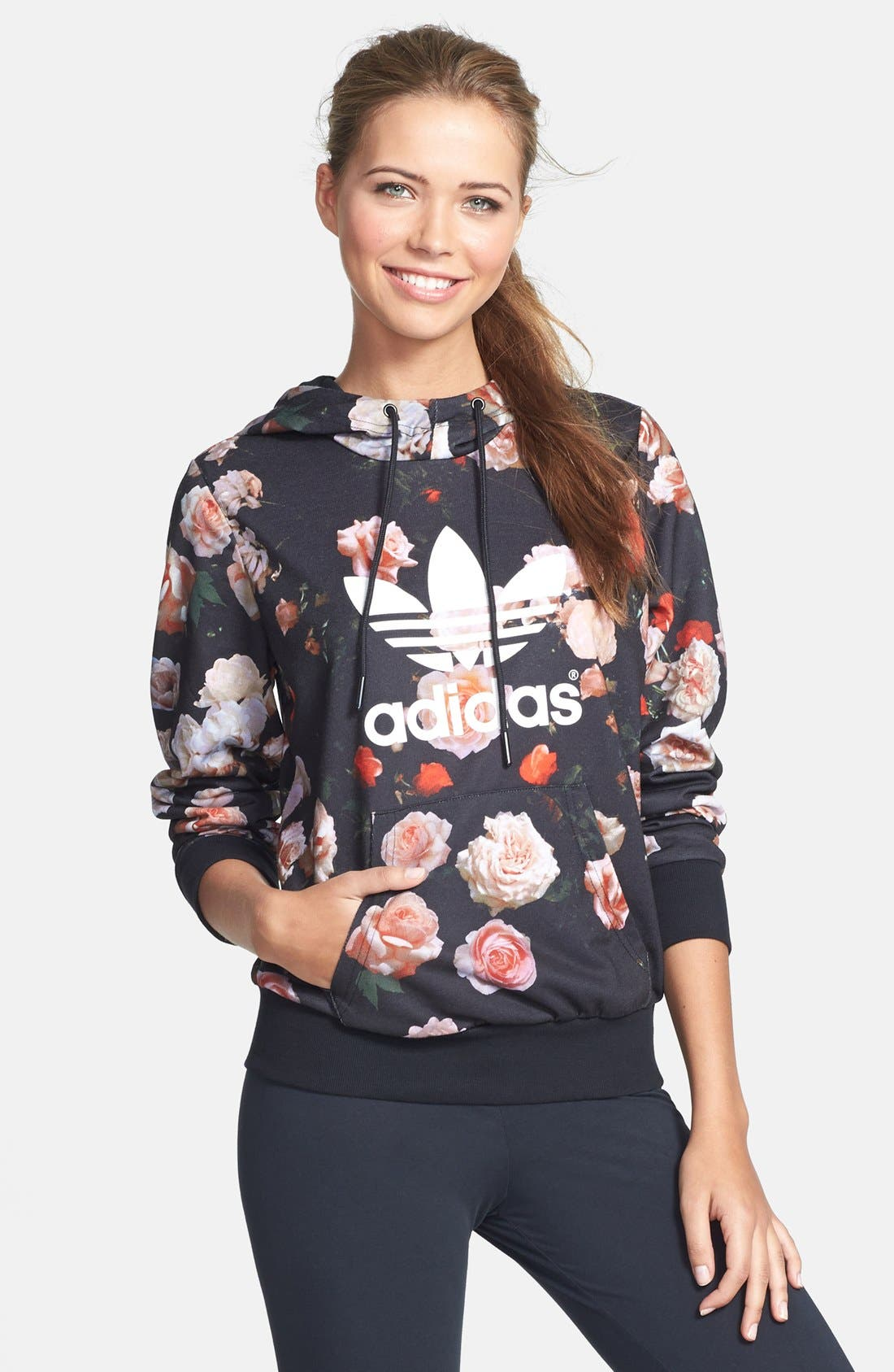 Main Image - adidas Trefoil Rose French Terry Hoodie