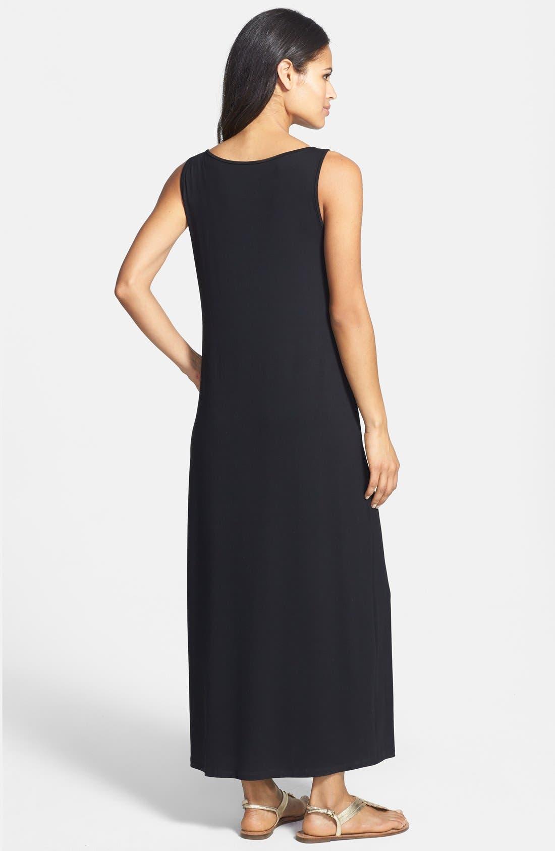 Alternate Image 2  - Eileen Fisher Scoop Neck Jersey Dress (Petite)