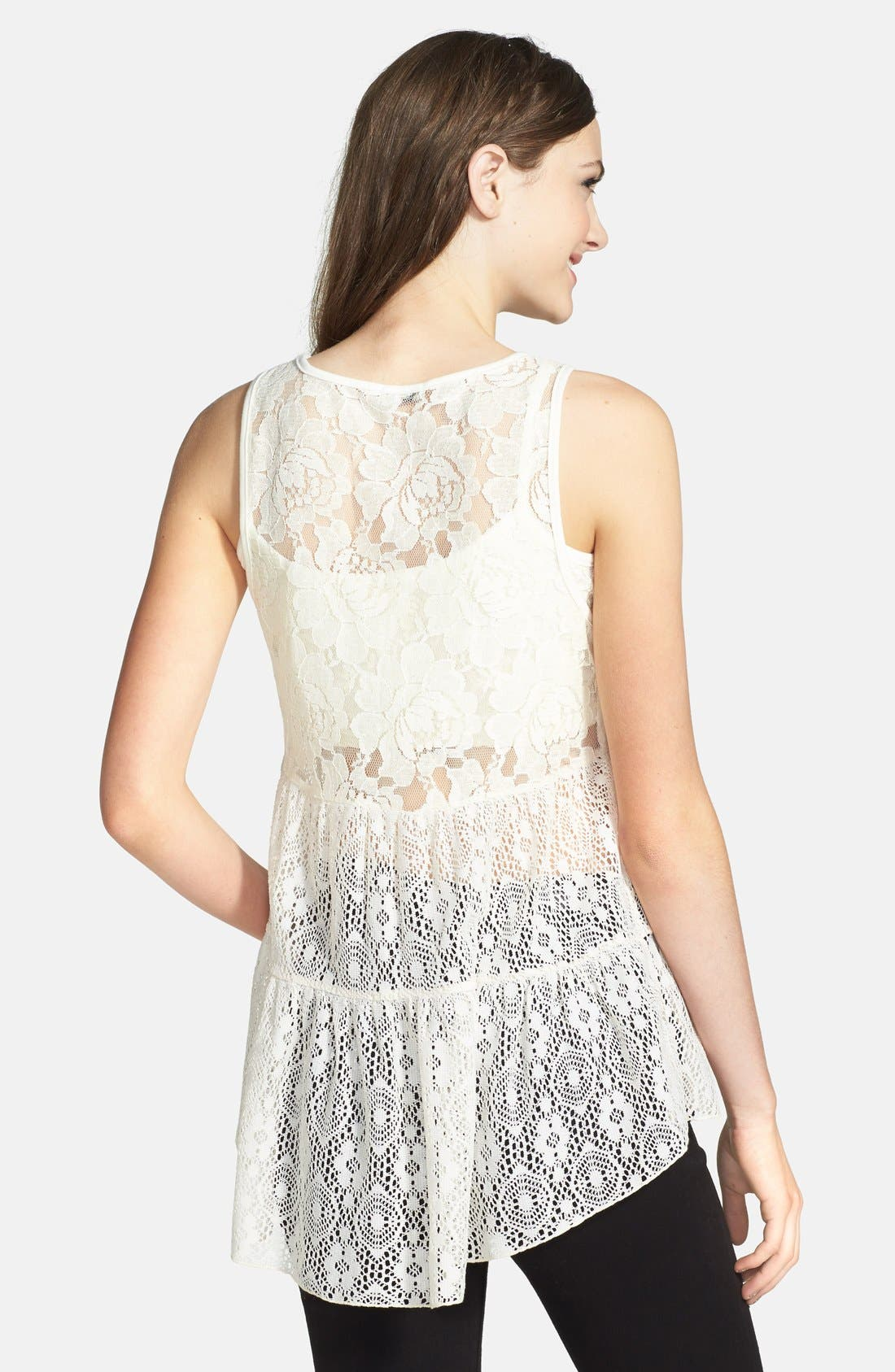 Alternate Image 2  - Lily White Tiered Lace Top (Juniors)