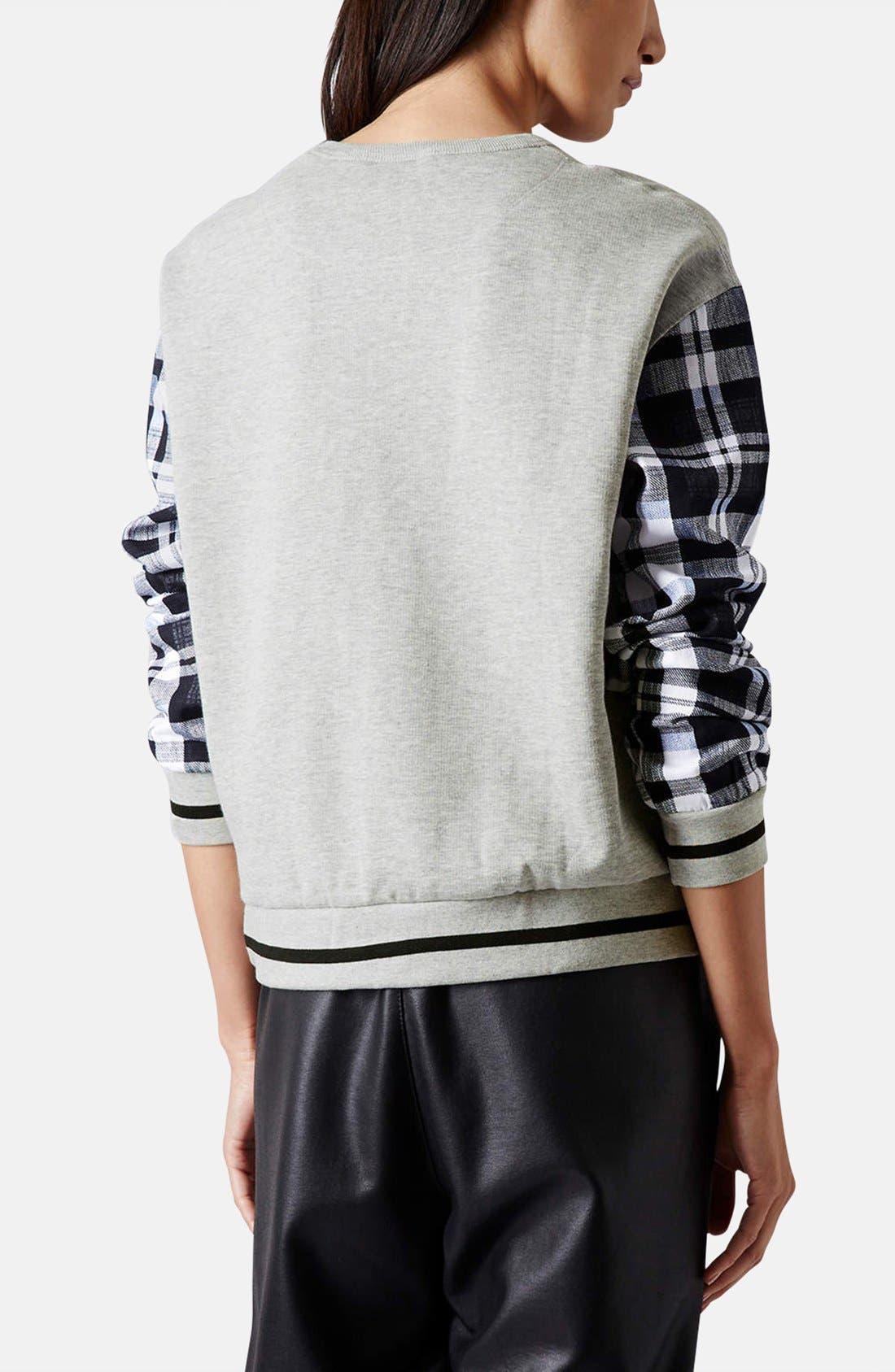 Alternate Image 2  - Topshop Check Sleeve Sweatshirt