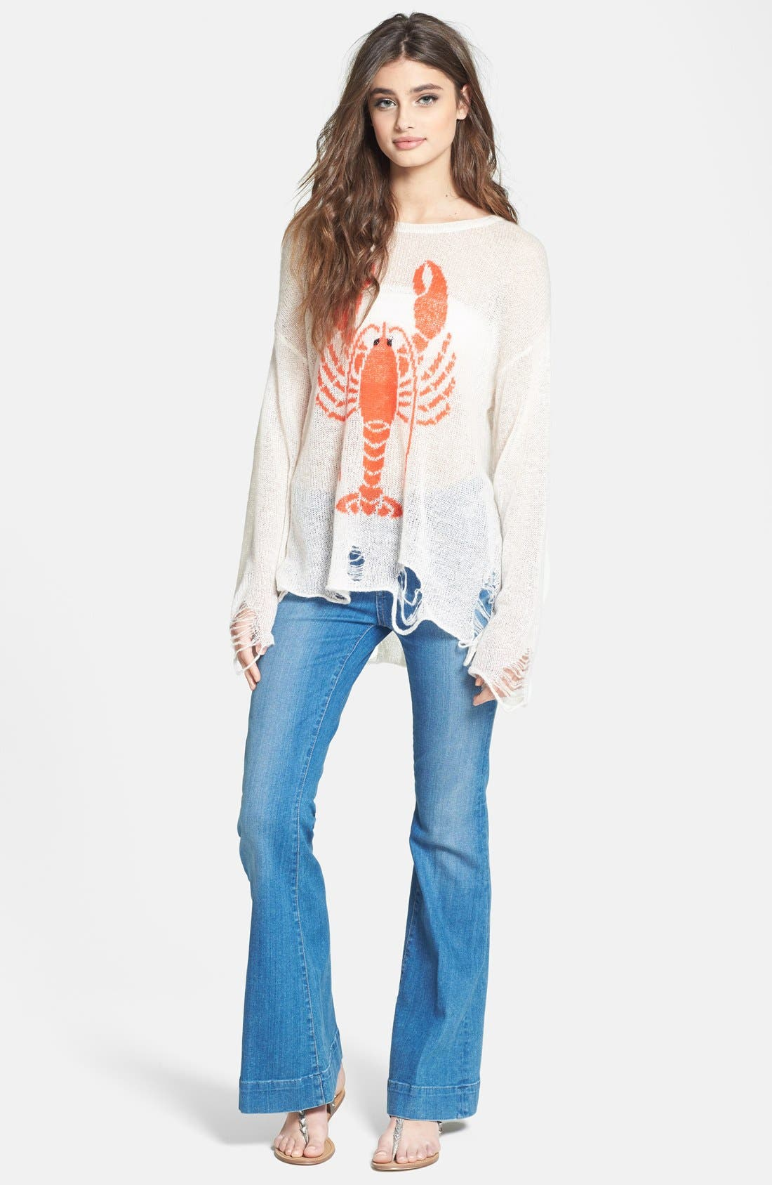 Alternate Image 4  - Wildfox 'Lobster Lenon' Destroyed Sweater