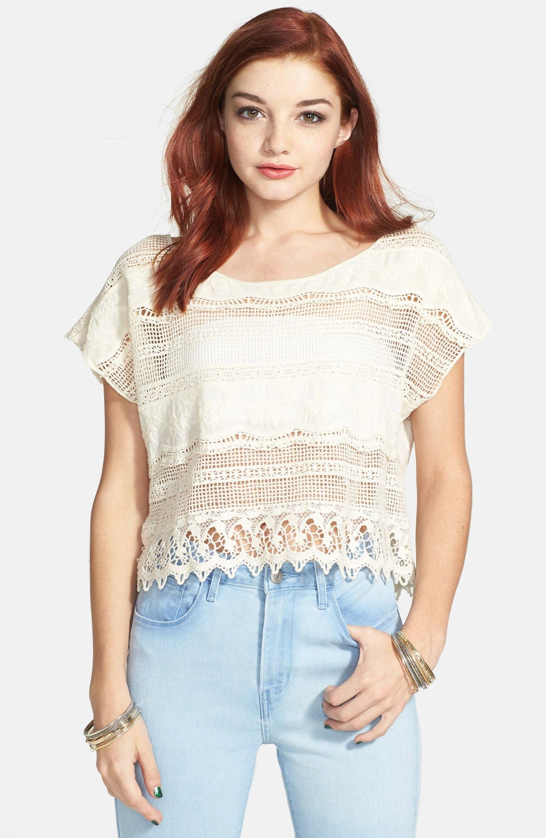 Alternate Image 1 Selected - Mimi Chica Oversized Crochet Tee (Juniors)