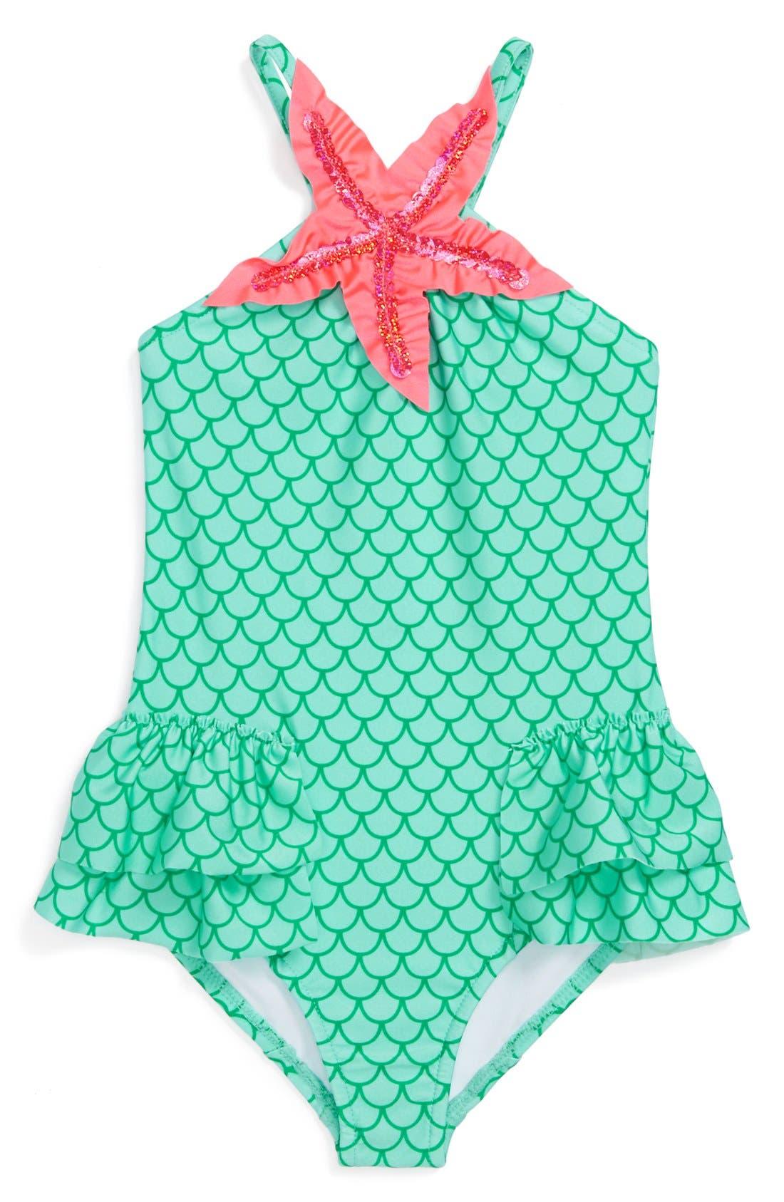 Alternate Image 1 Selected - Love U Lots 'Mermaid' One-Piece Swimsuit (Little Girls)