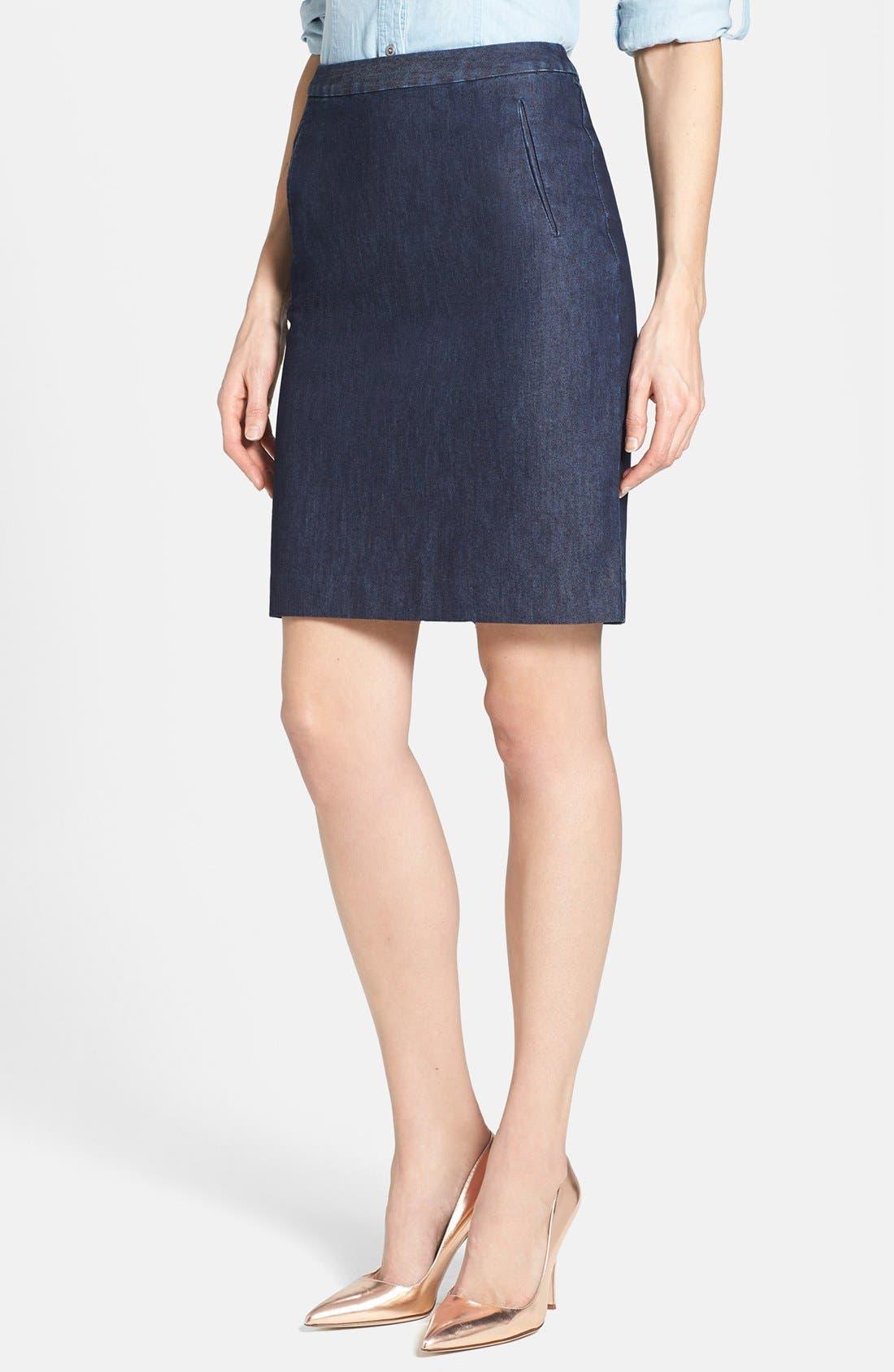 Alternate Image 1 Selected - Halogen® Stretch Cotton Blend Pencil Skirt (Regular & Petite)
